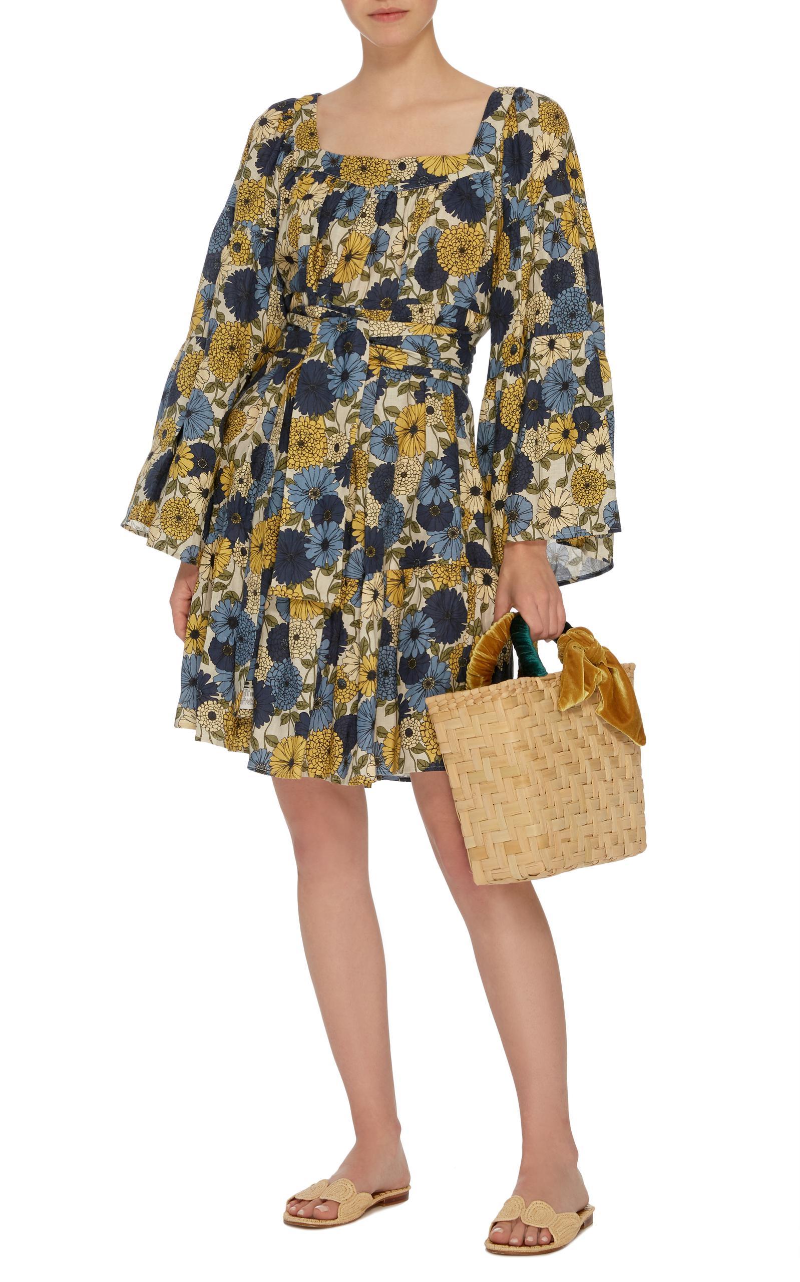 Belted Floral-Print Linen Dress Lisa Marie Fernandez hHYojI