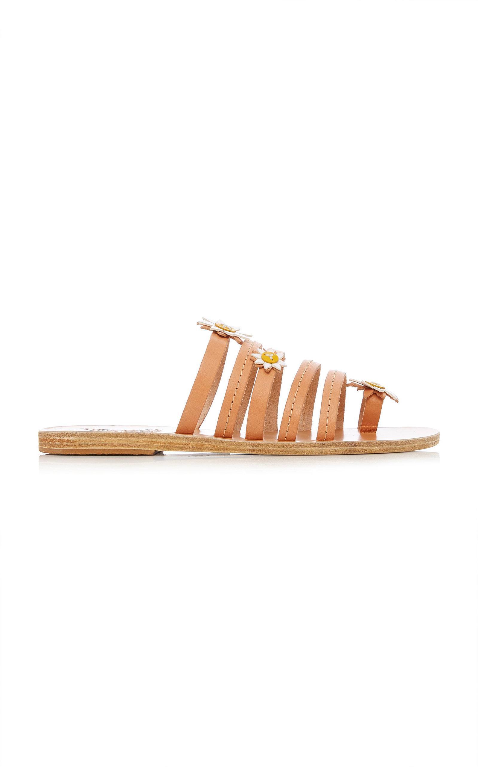 Victoria Floral-Embellished Leather Slides Ancient Greek Sandals 5ODXgIo