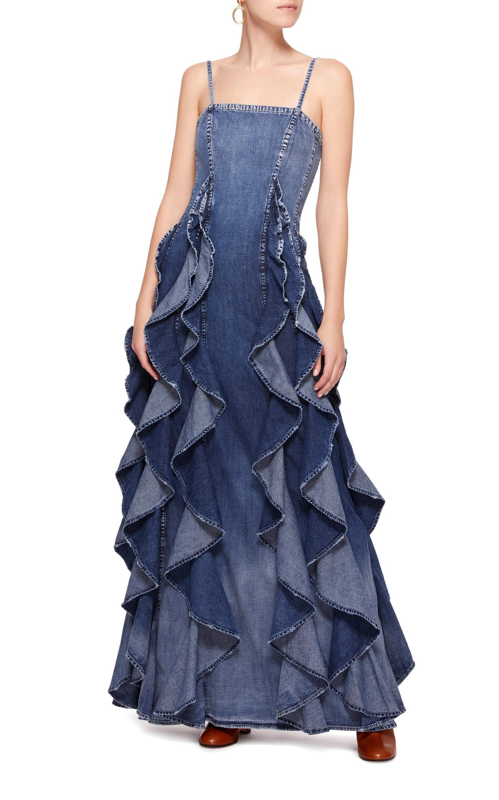 608f28676a Lyst - Ralph Lauren Denim Eve Evening Dress in Blue