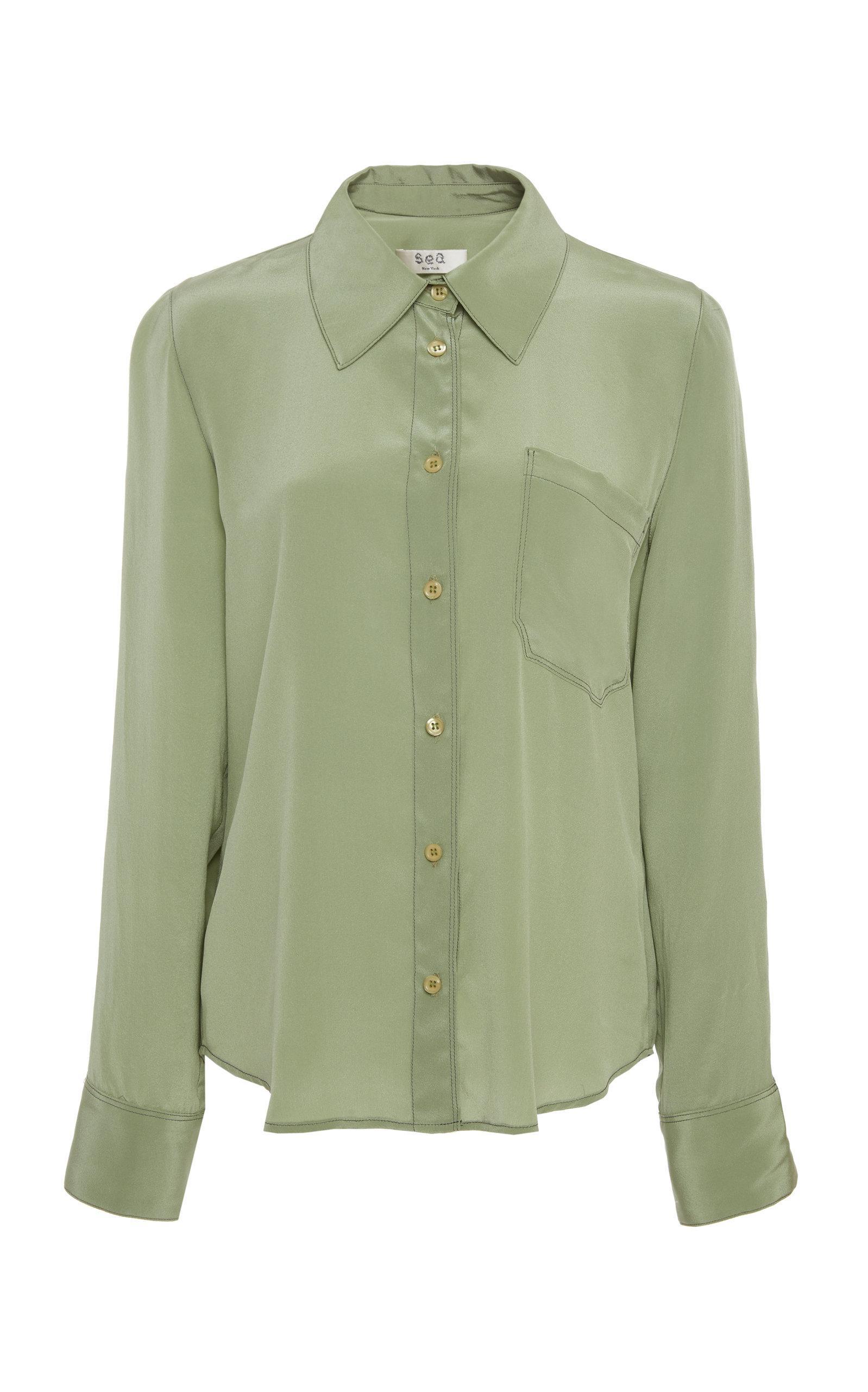 Lyst Sea Santorini Silk Collared Shirt In Green