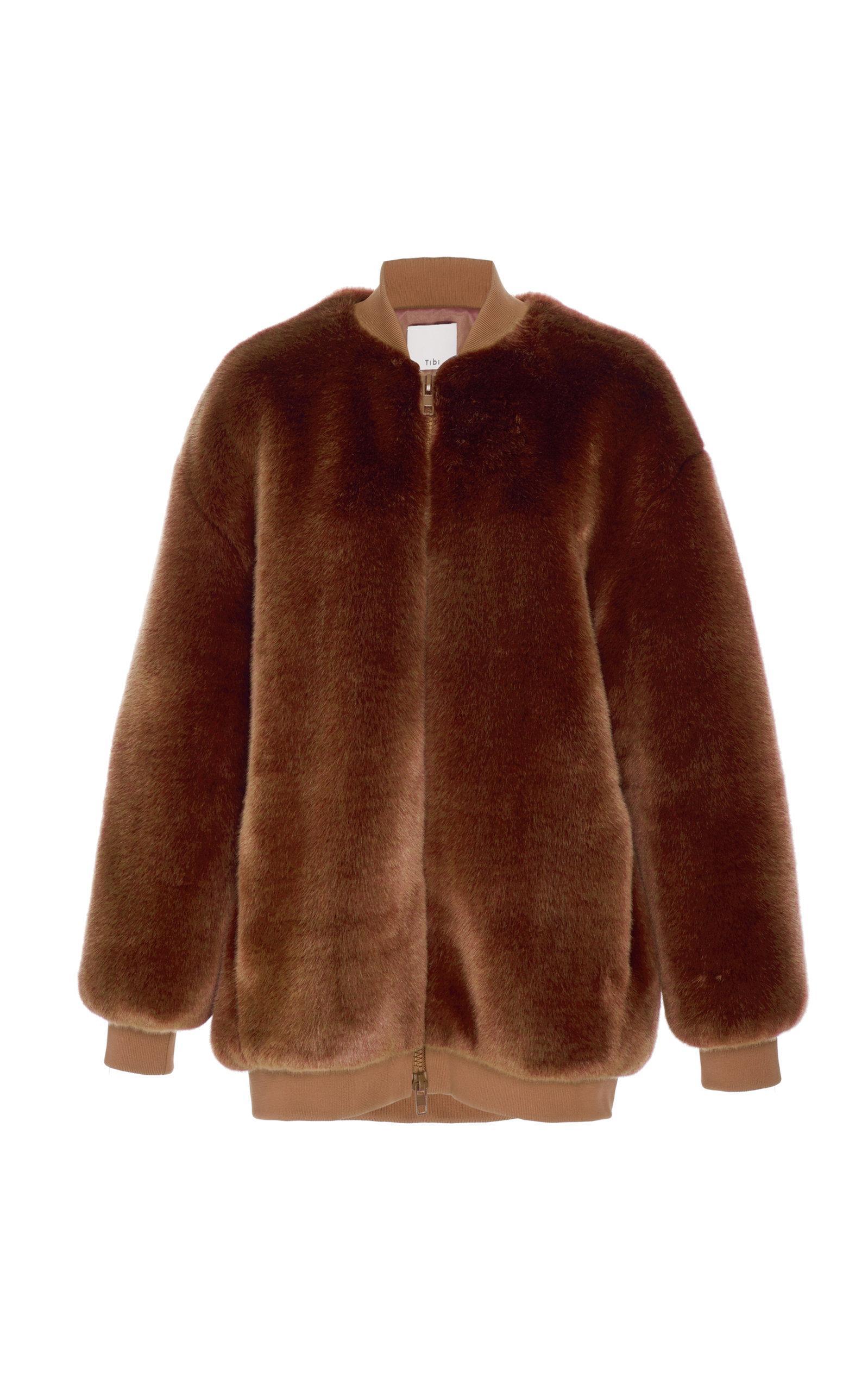 3ec4fff76e0d Lyst - Tibi Faux Fur Bomber Jacket in Brown