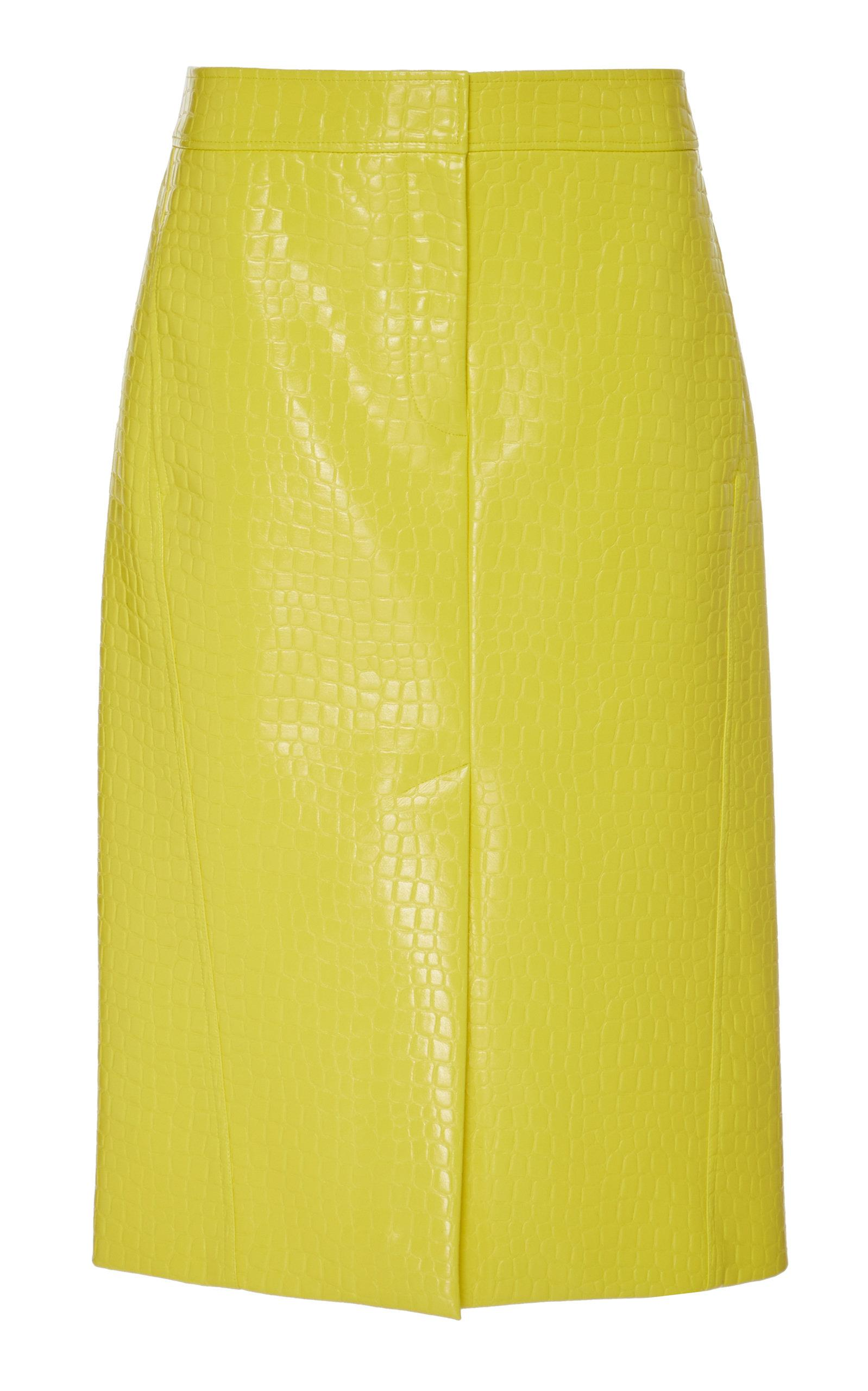 bc7f624f7 Lyst - Tibi Croc Embossed Patent Trouser Split Skirt in Yellow