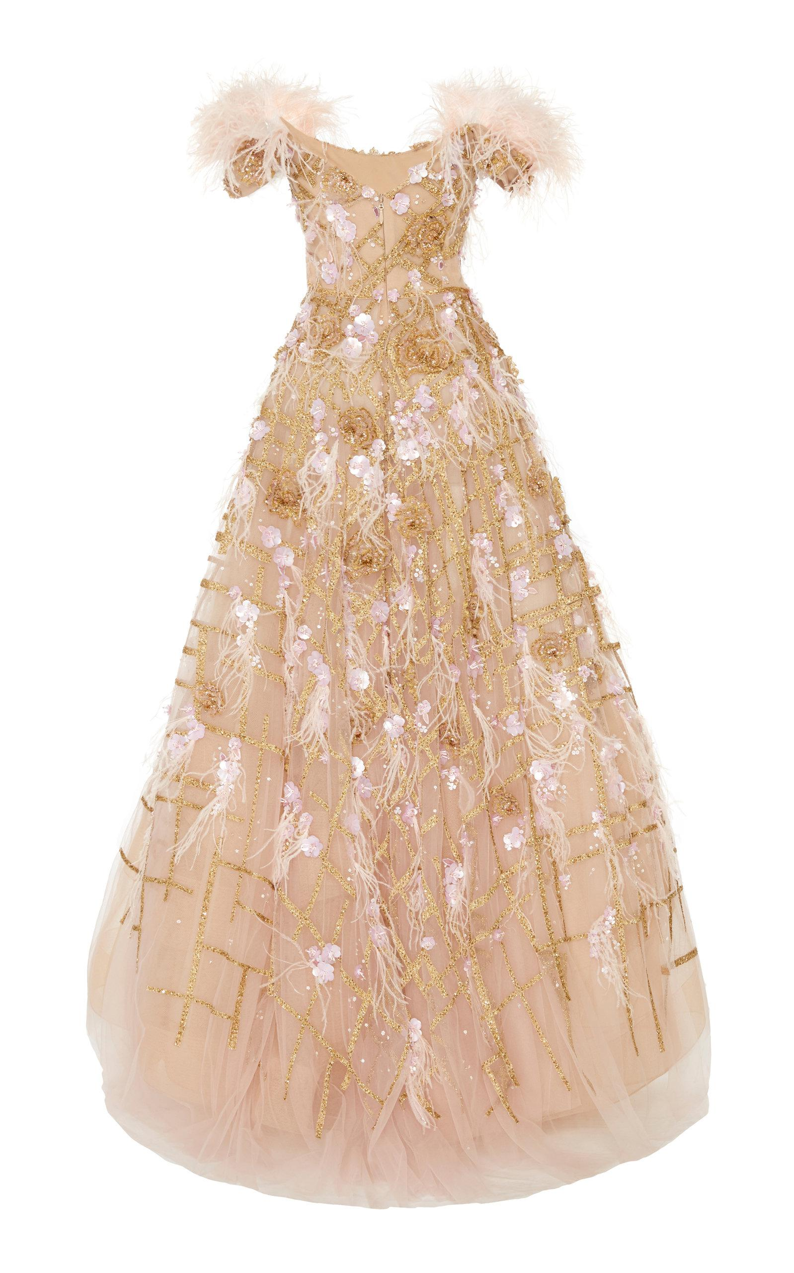 72cb88ef Marchesa Off Shoulder Ostrich Feather Embroidered Ball Gown in Pink ...