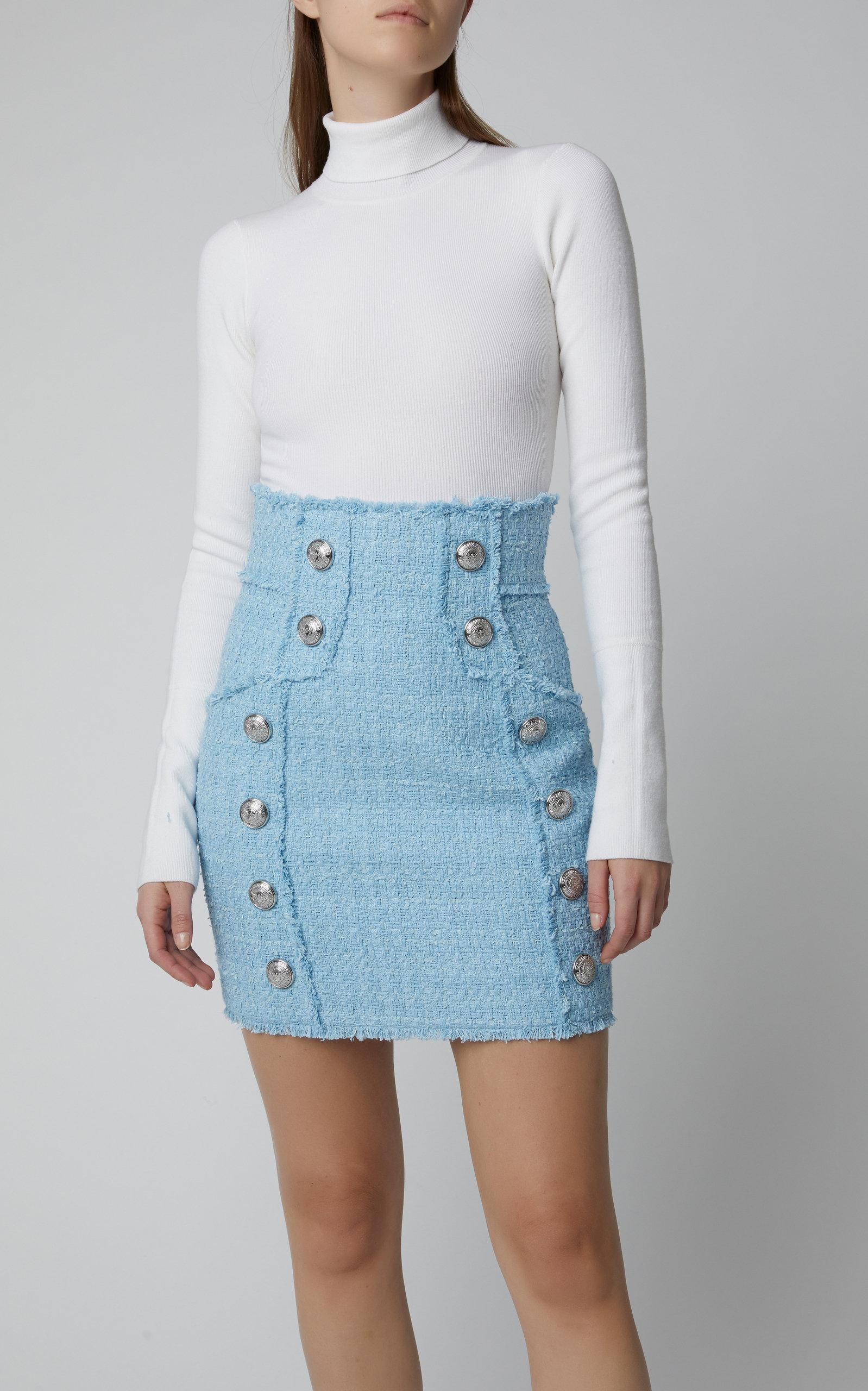 8eceb907 Balmain - Blue Button-embellished Tweed Mini Skirt - Lyst. View fullscreen