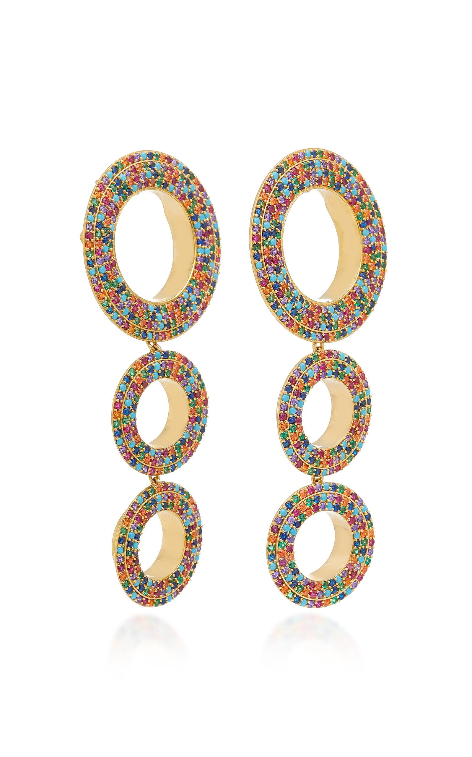 Joanna Laura Constantine Grommets Statement Rainbow Earrings in Gold-Plated Brass with Multicolored Stones dUOU0dw