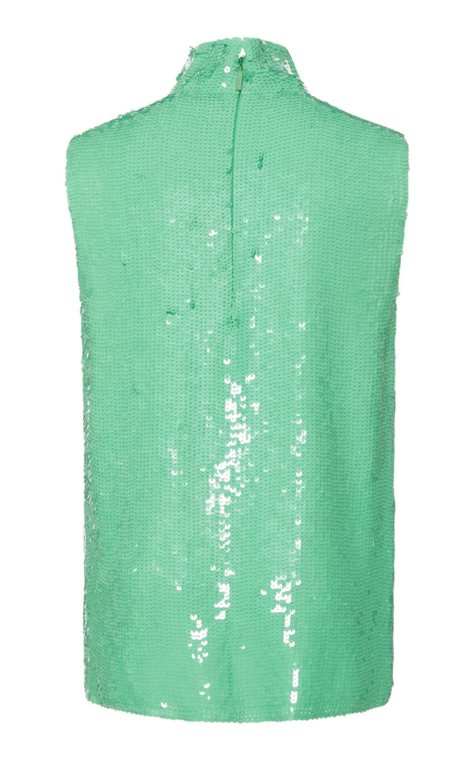 8313a754519ead Lyst - Tibi Sequin Turtleneck Shell Top in Green