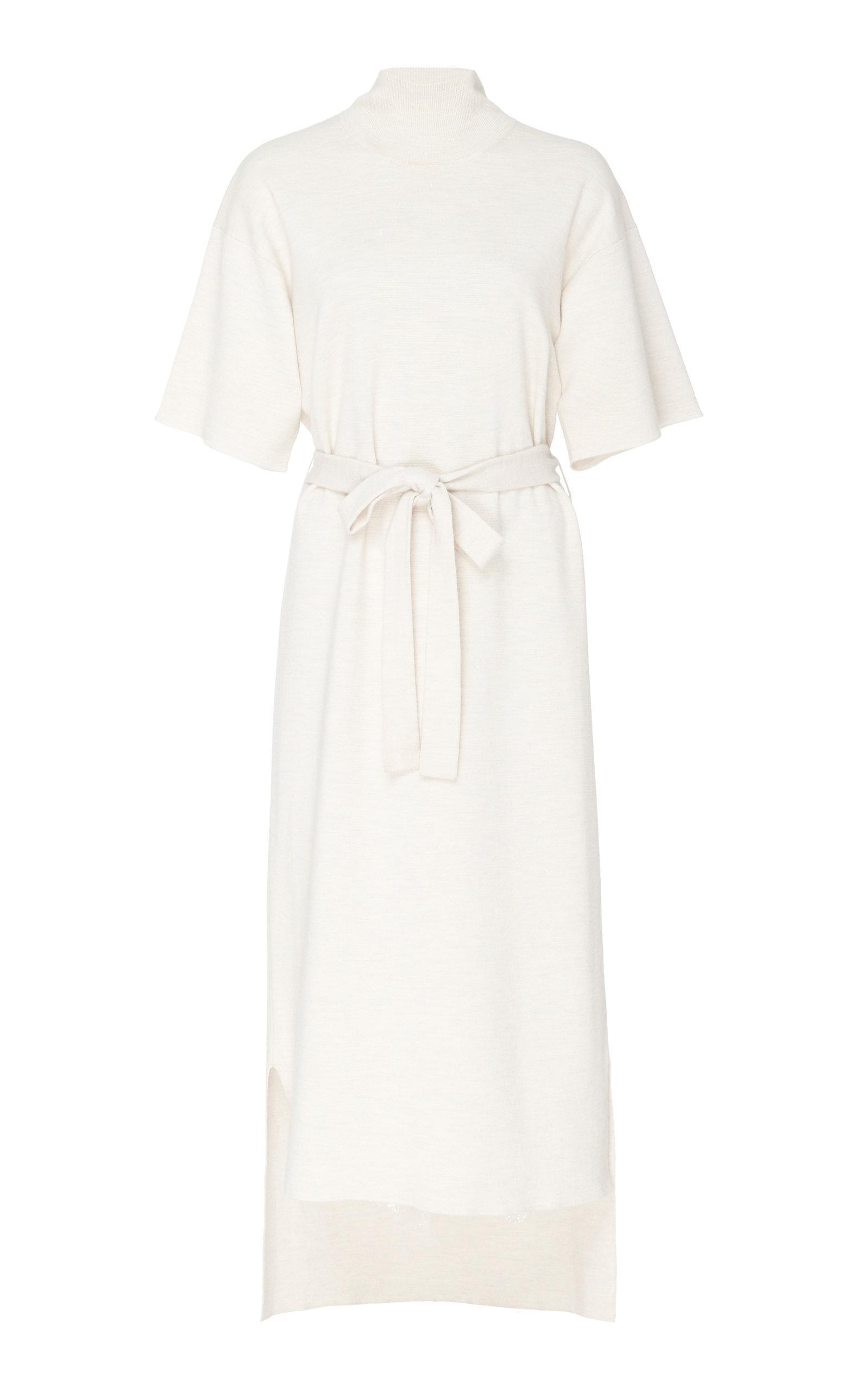 Lyst Co Light Merino Short Sleeve Mock Neck Sweater Dress In White