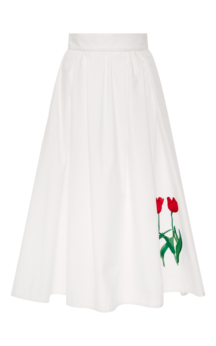 Vivetta Ivone Cotton A-line Skirt With Tulips in White