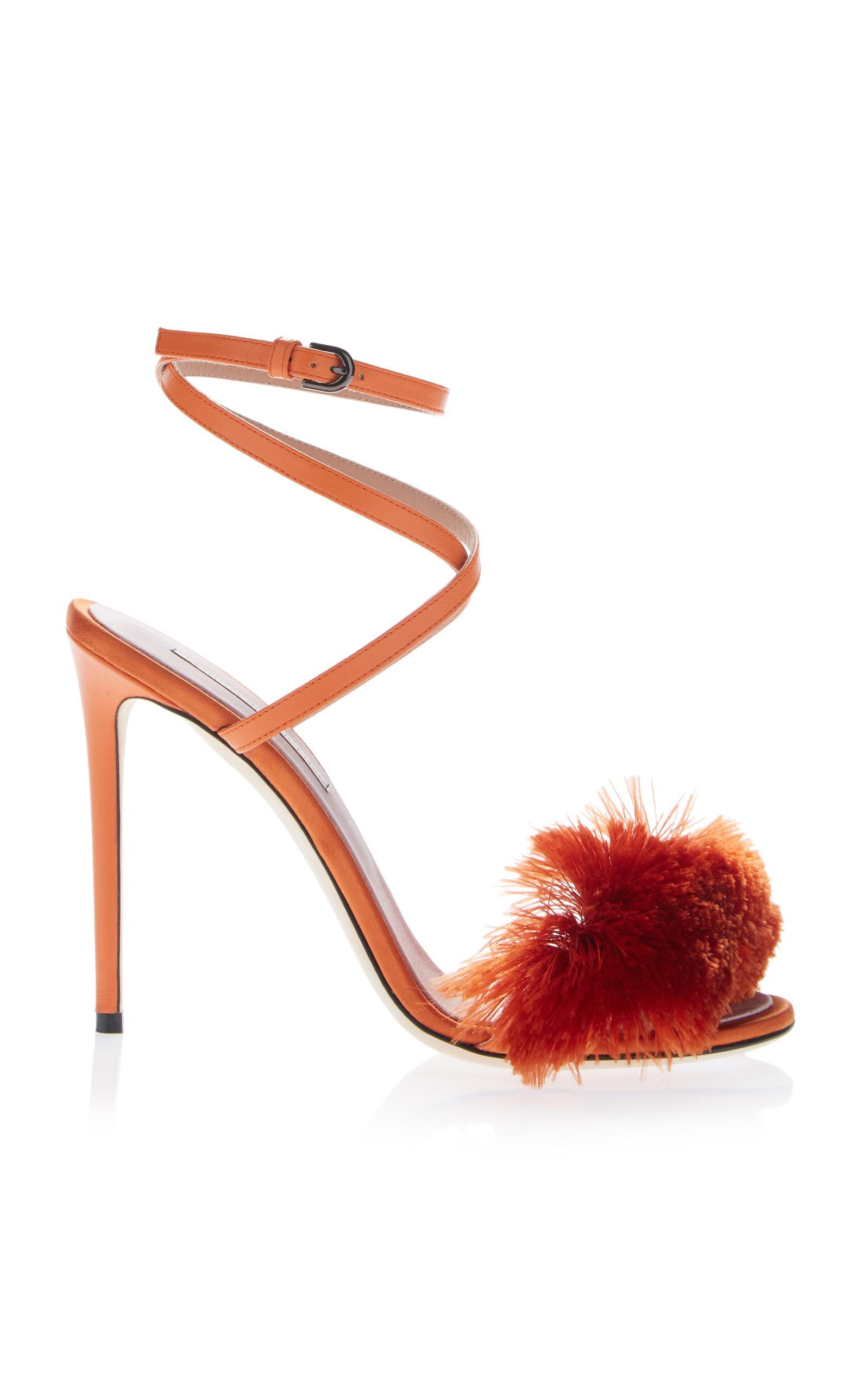 63af63aceb7199 Lyst - Marco De Vincenzo Fringe High Heel Sandal in Orange