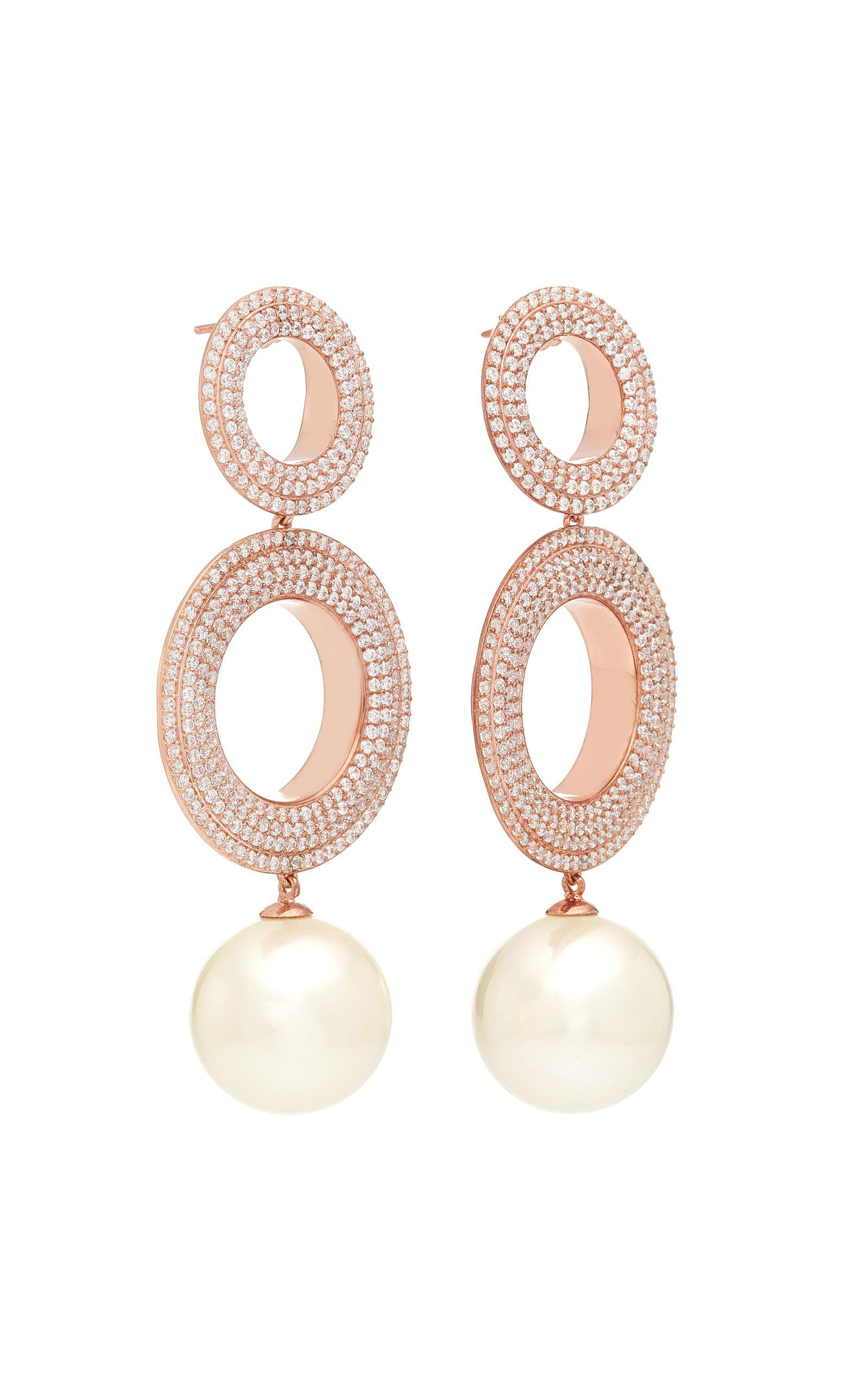 Grommets Gold-Plated Brass Cubic Zirconia and Pearl Earrings Joanna Laura Constantine