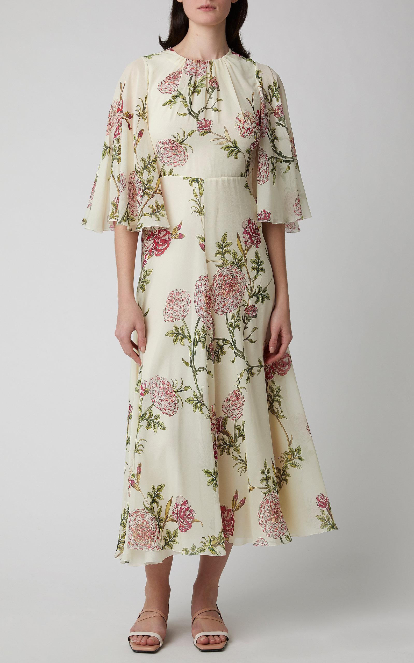 73945d203b89a Giambattista Valli - Multicolor Floral-print Silk-chiffon Midi Dress -  Lyst. View fullscreen