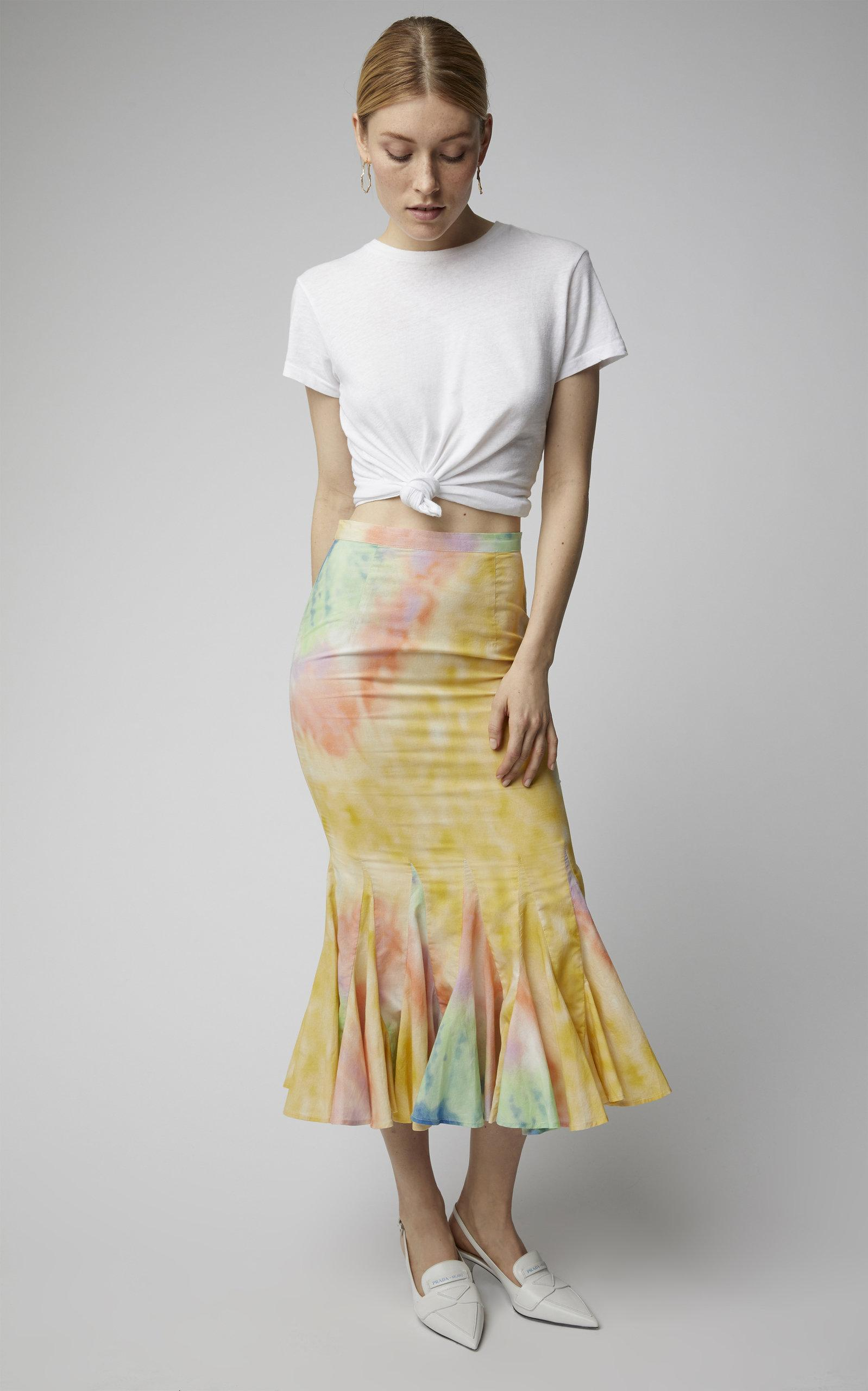 8c874d2881 Rhode Resort Sienna Pleated Tie-dye Cotton Midi Skirt in Yellow - Lyst