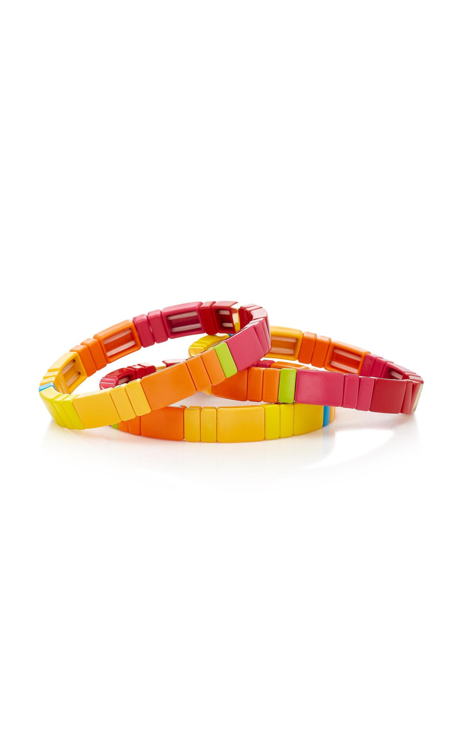 Roxanne Assoulin Set of Three Starburst Block Party Enamel Bracelets n6Kq5C