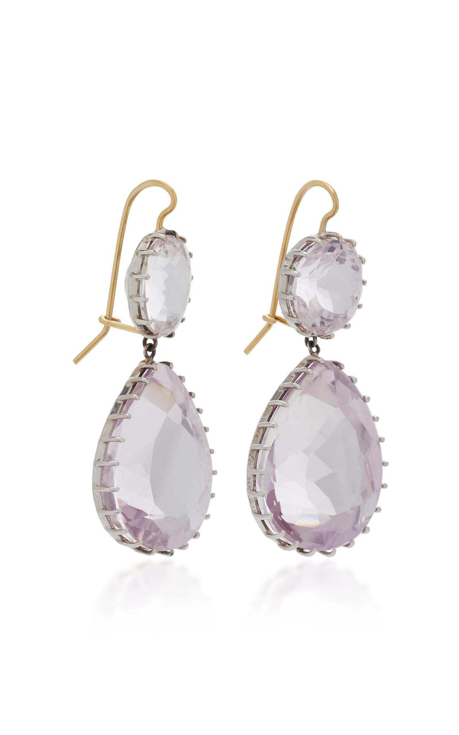 kunzite diamond cushion and purple white earring earrings cut with dangle gold