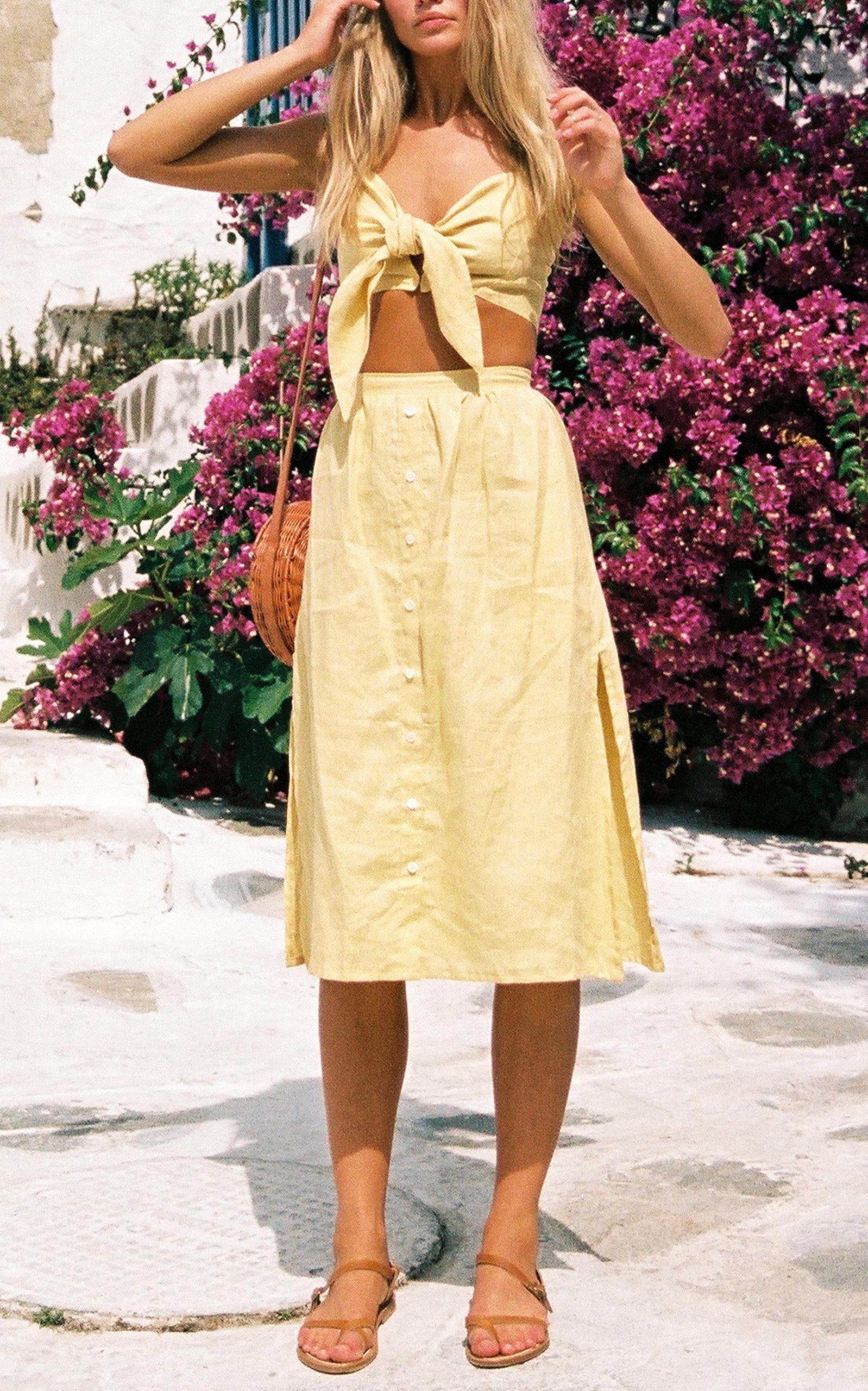 4faf9c0e7b Faithfull The Brand Seine Midi Skirt in Yellow - Lyst