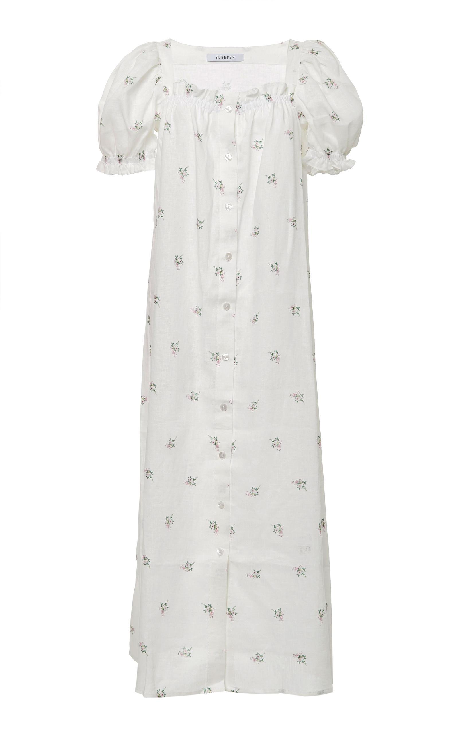 8af6dd9a01 Lyst - Sleeper Brigitte Linen Flower Printed Long Dress in White