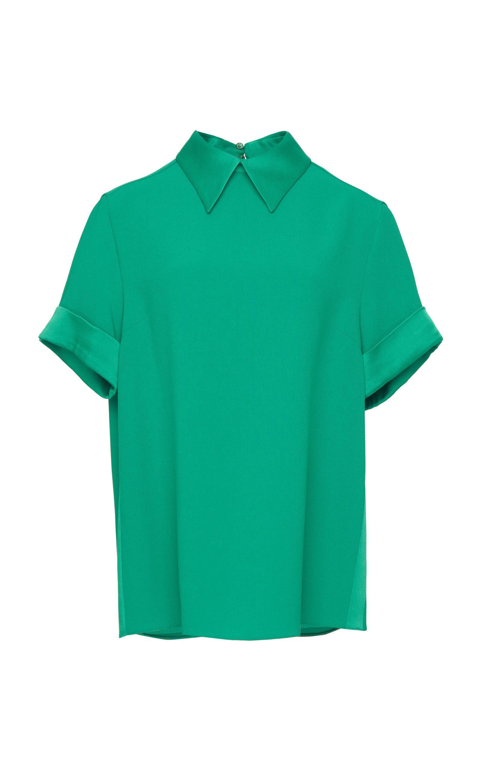 Lyst Rochas Olinda Short Sleeve Collared Blouse In Green