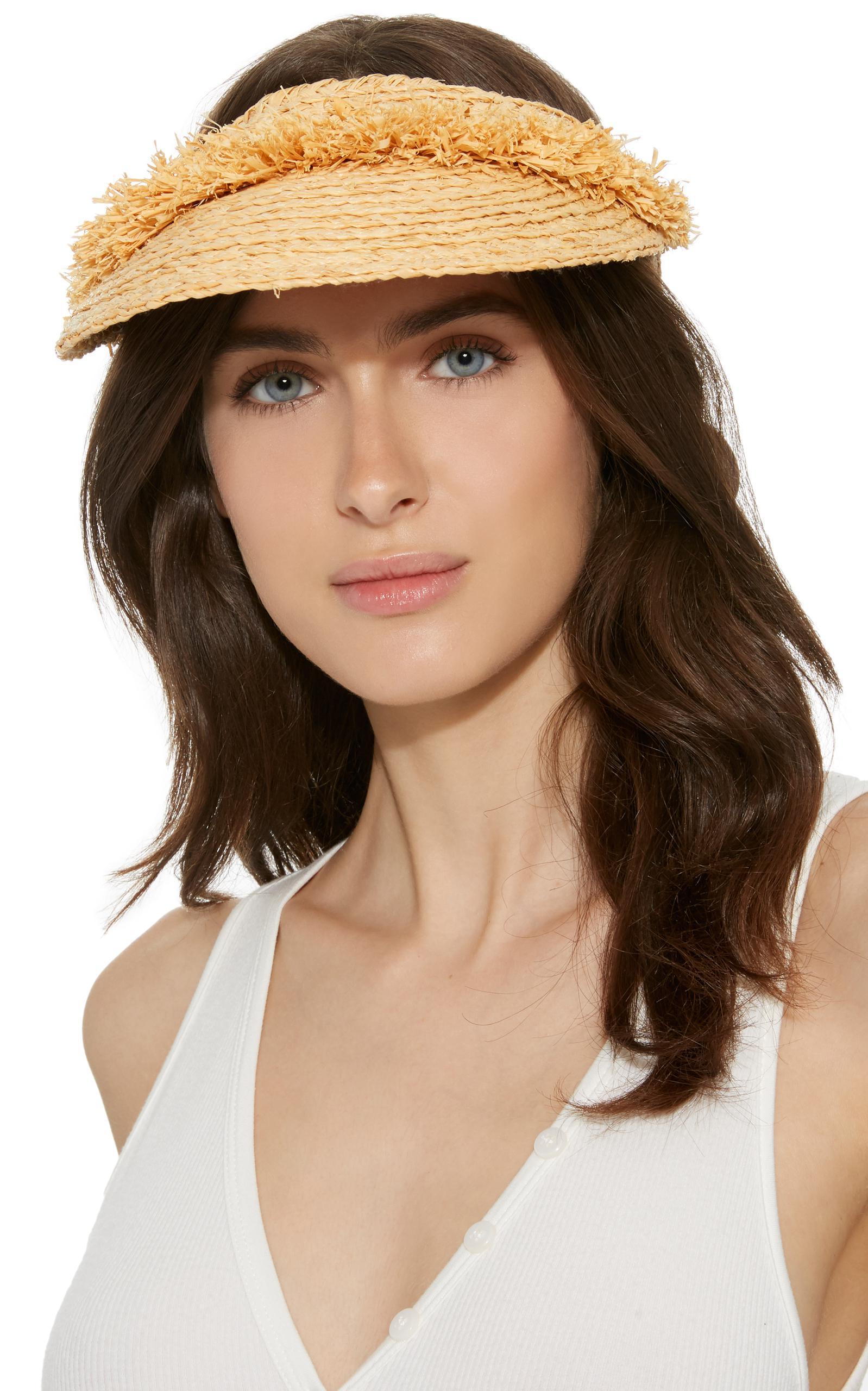 d3852fab1e Lola Hats Woven Rafia And Leather Visor Hat - Lyst