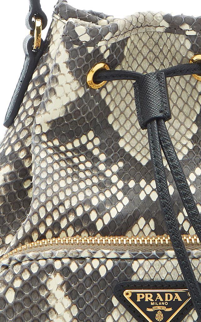 2f7d4a648 Prada Python Print Leather Bucket Bag - Lyst