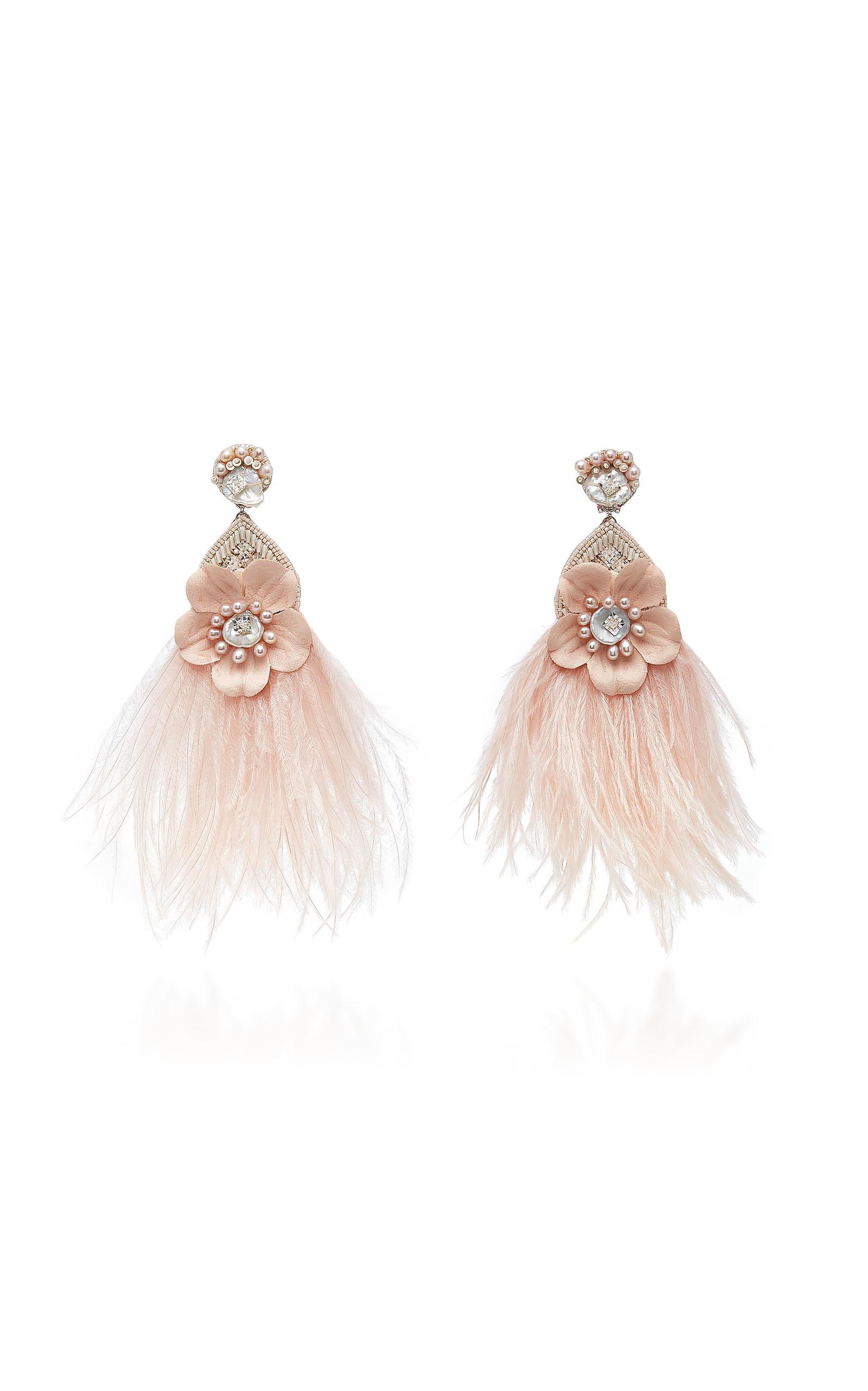 MO Exclusive Pale Pink Ostrich Flower Earrings Ranjana Khan HxaDL