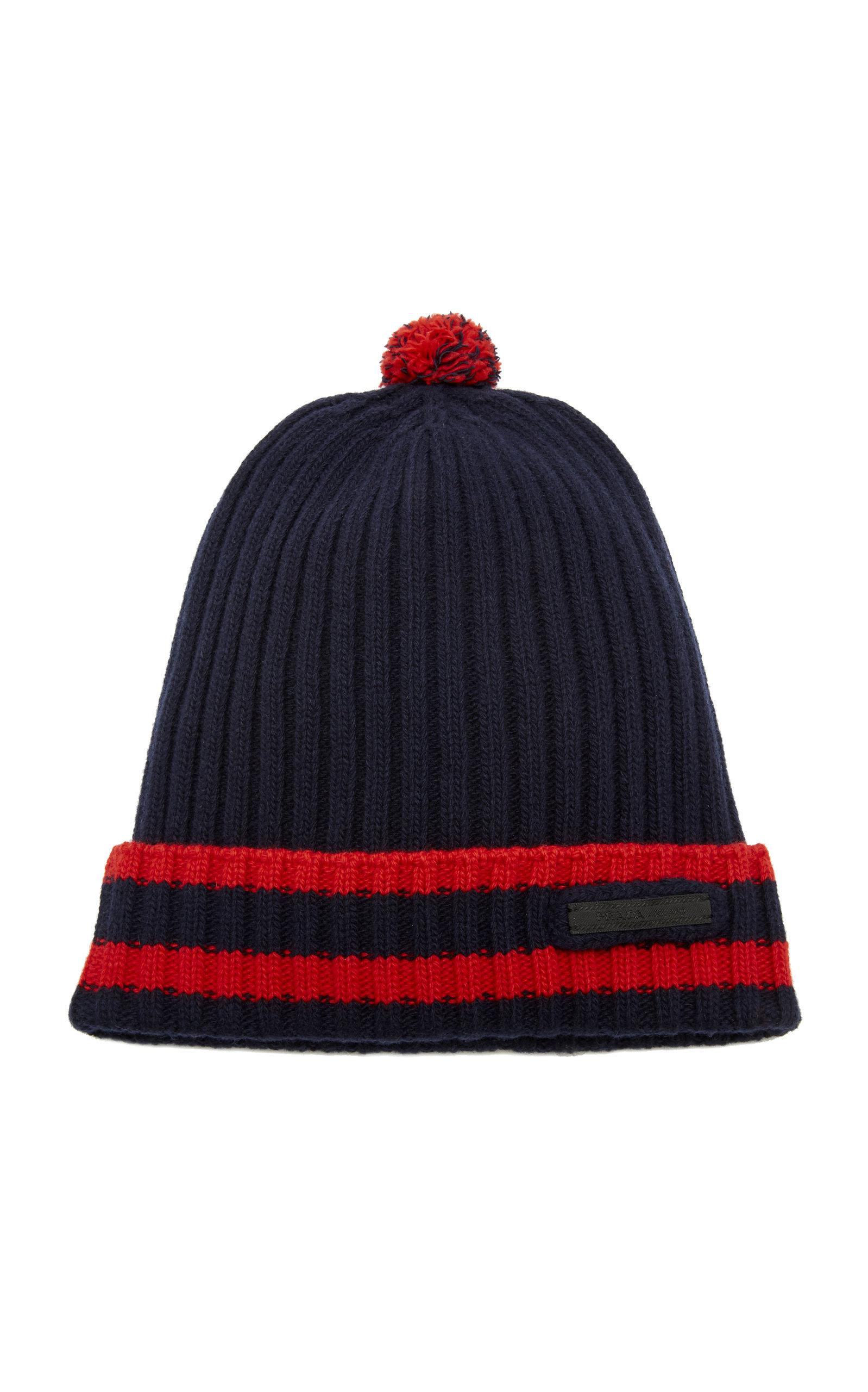 7af107588c9 Prada Striped Wool And Cashmere Beanie in Blue for Men - Lyst