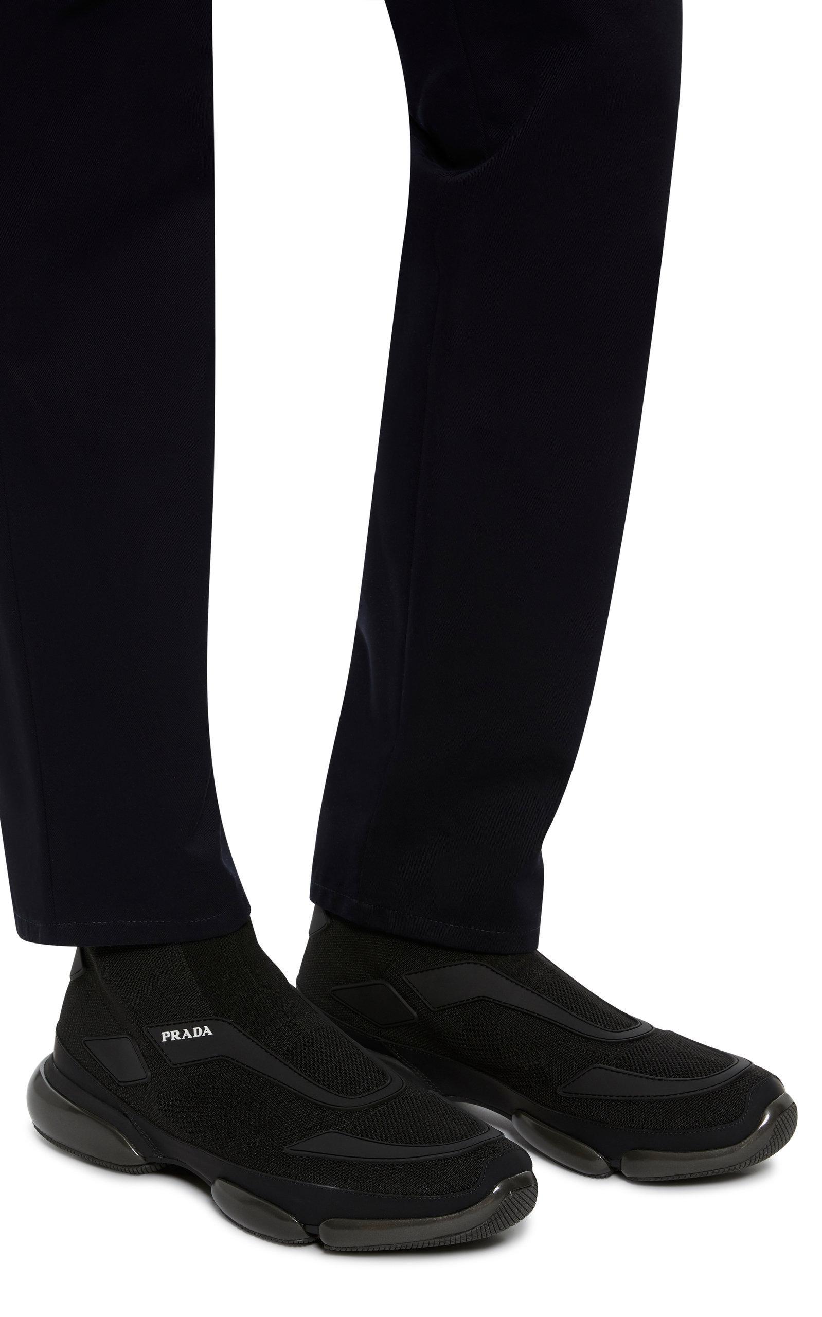 246ff7013fe2 Prada - Black Cloudbust Stretch-knit High-top Sneakers for Men - Lyst. View  fullscreen