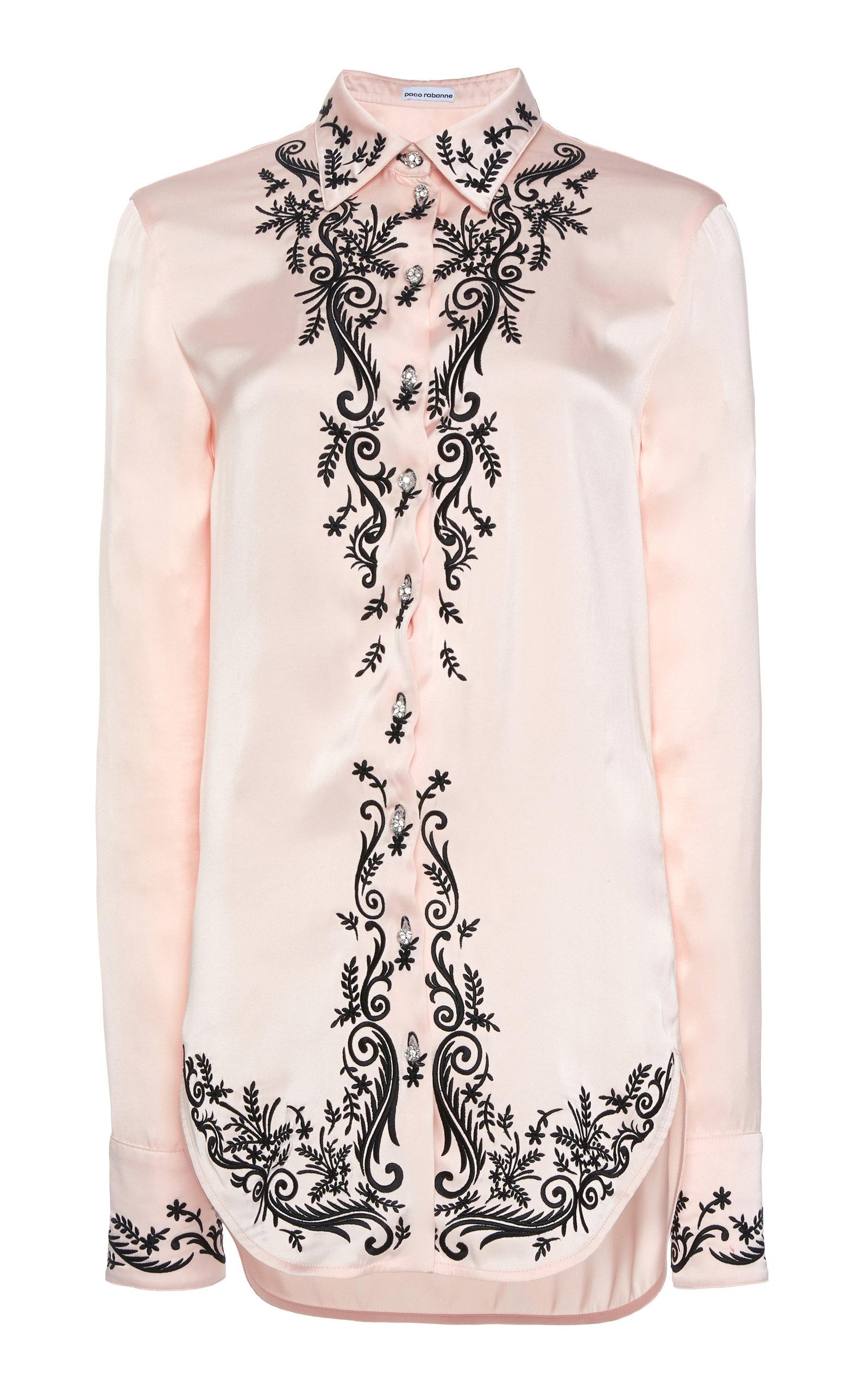 08f6c4c8 Paco Rabanne - Pink Embroidered Satin Shirt - Lyst. View fullscreen