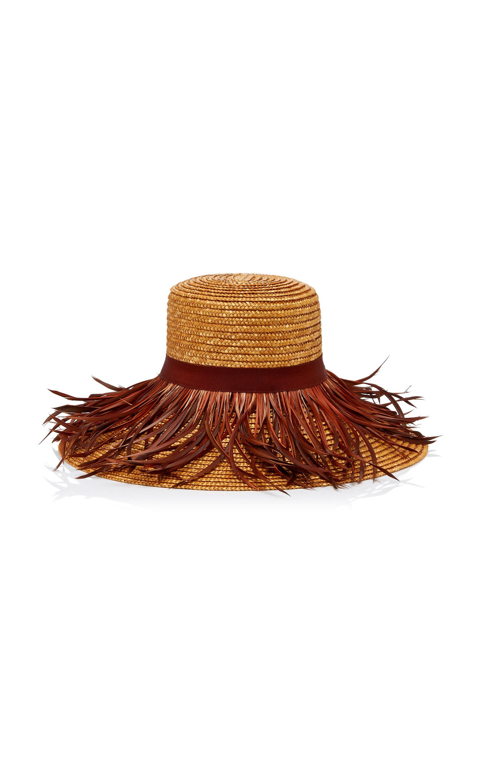 Lyst - Eugenia Kim Annabelle Feather-trimmed Straw Hat in Brown e8bd8aee85d8