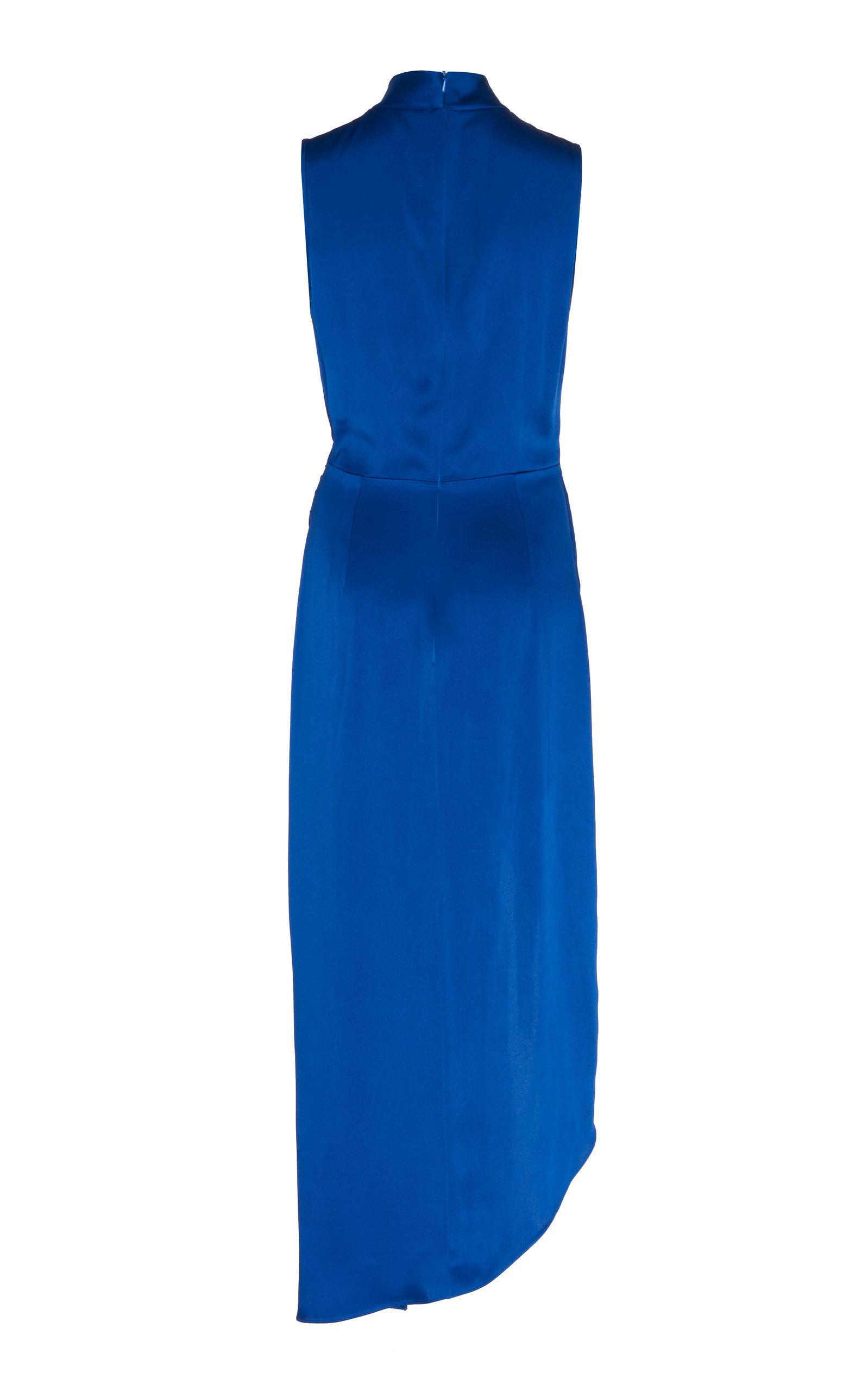 ec18a268f37 David Koma Ruched Detail Satin Dress in Blue - Lyst