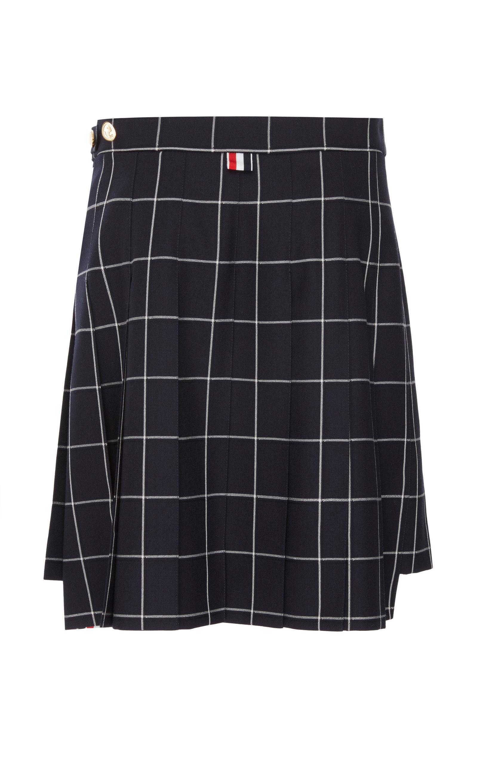 aaef69674 Thom Browne Pleated Wool Plaid Mini Skirt in Blue - Lyst