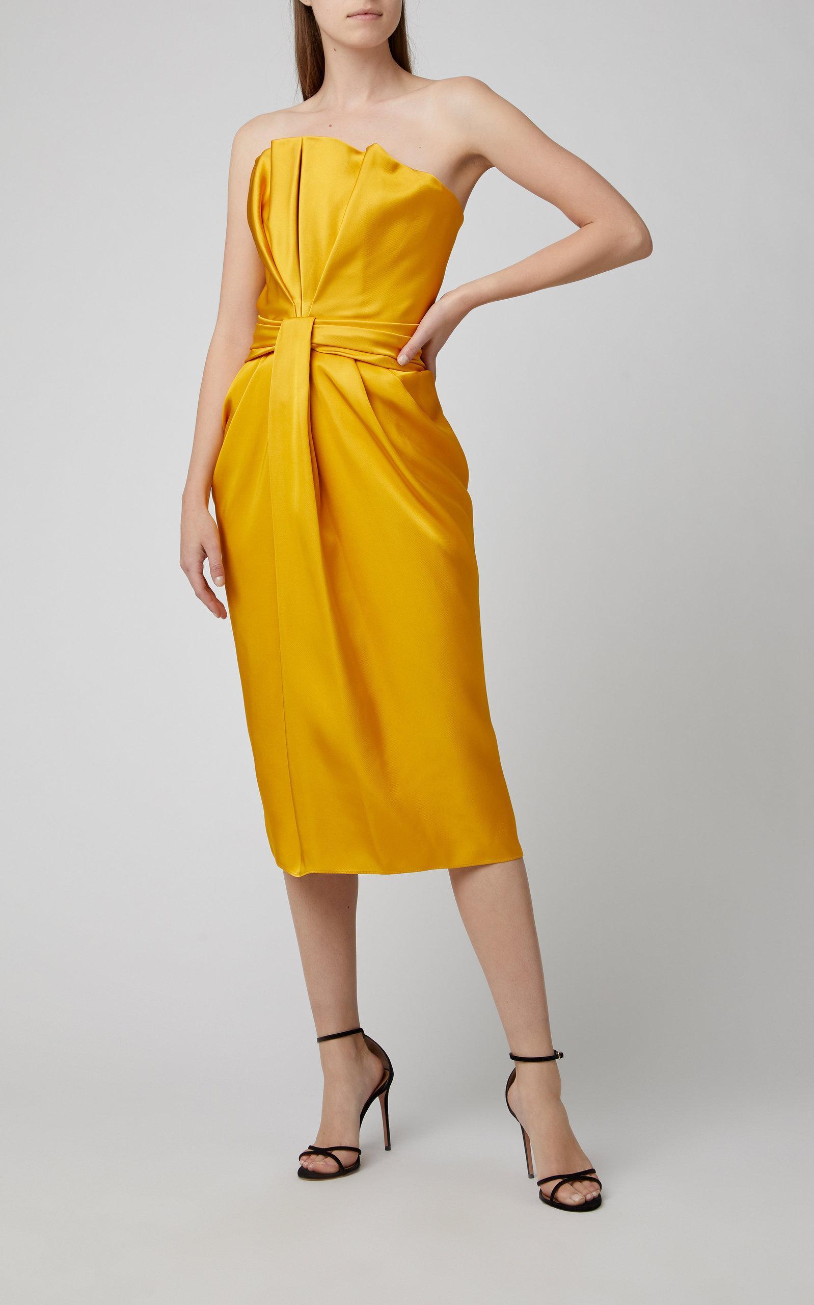 b9eaca2e5a6 Brandon Maxwell - Yellow Petal Front Satin Cocktail Dress - Lyst. View  fullscreen