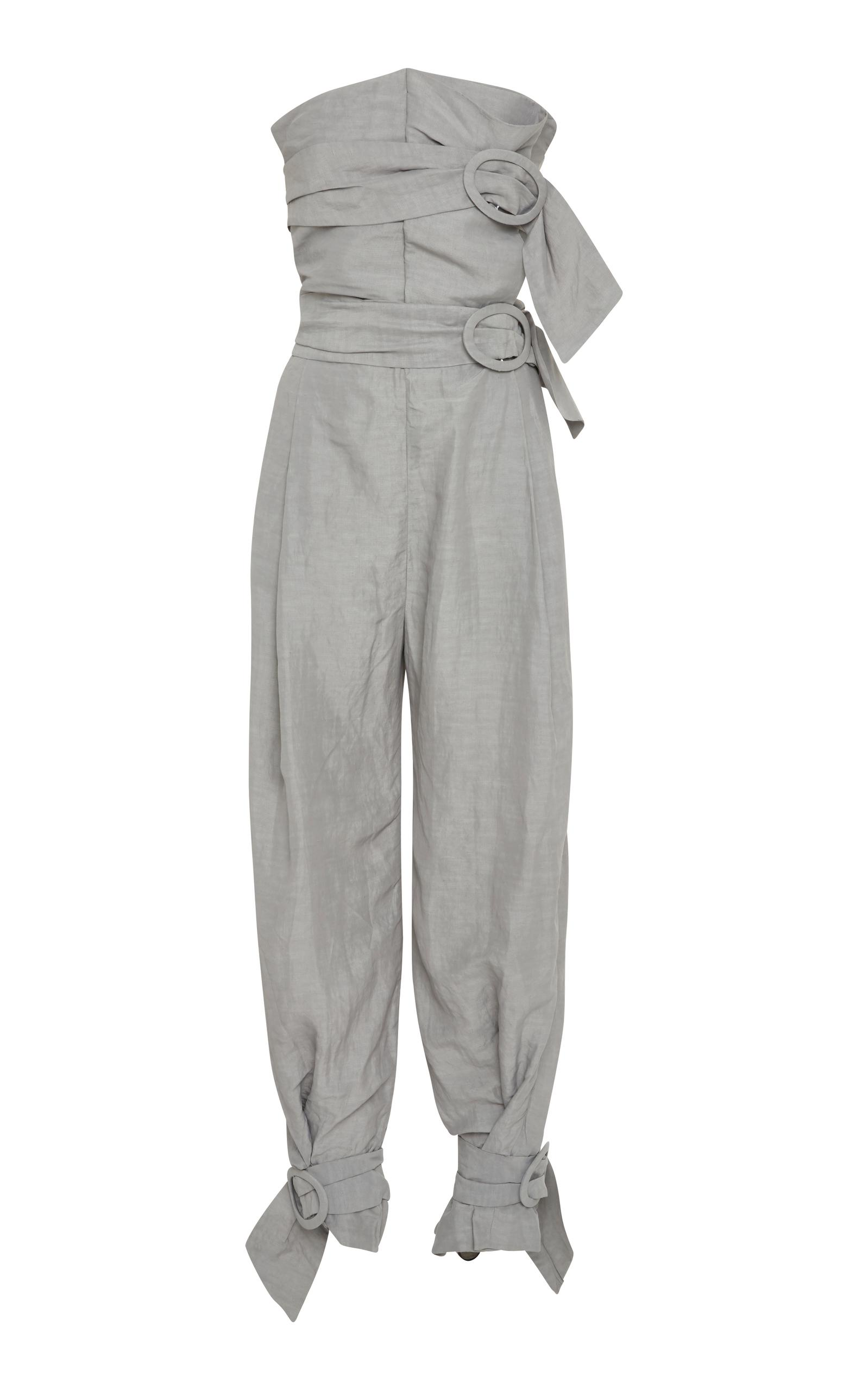Carmen March. Women's Gray Strapless Belted Jumpsuit