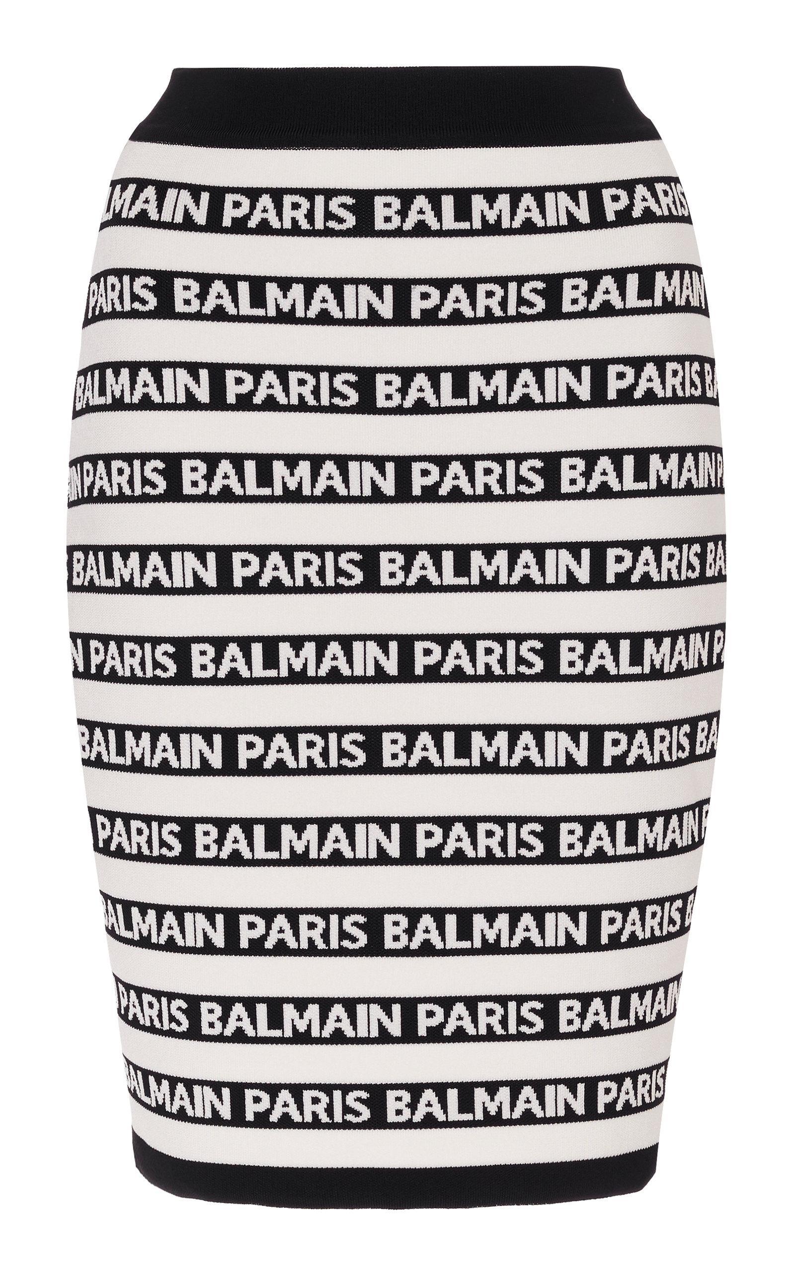 9020d14bee Balmain Striped Logo Skirt in Black - Lyst