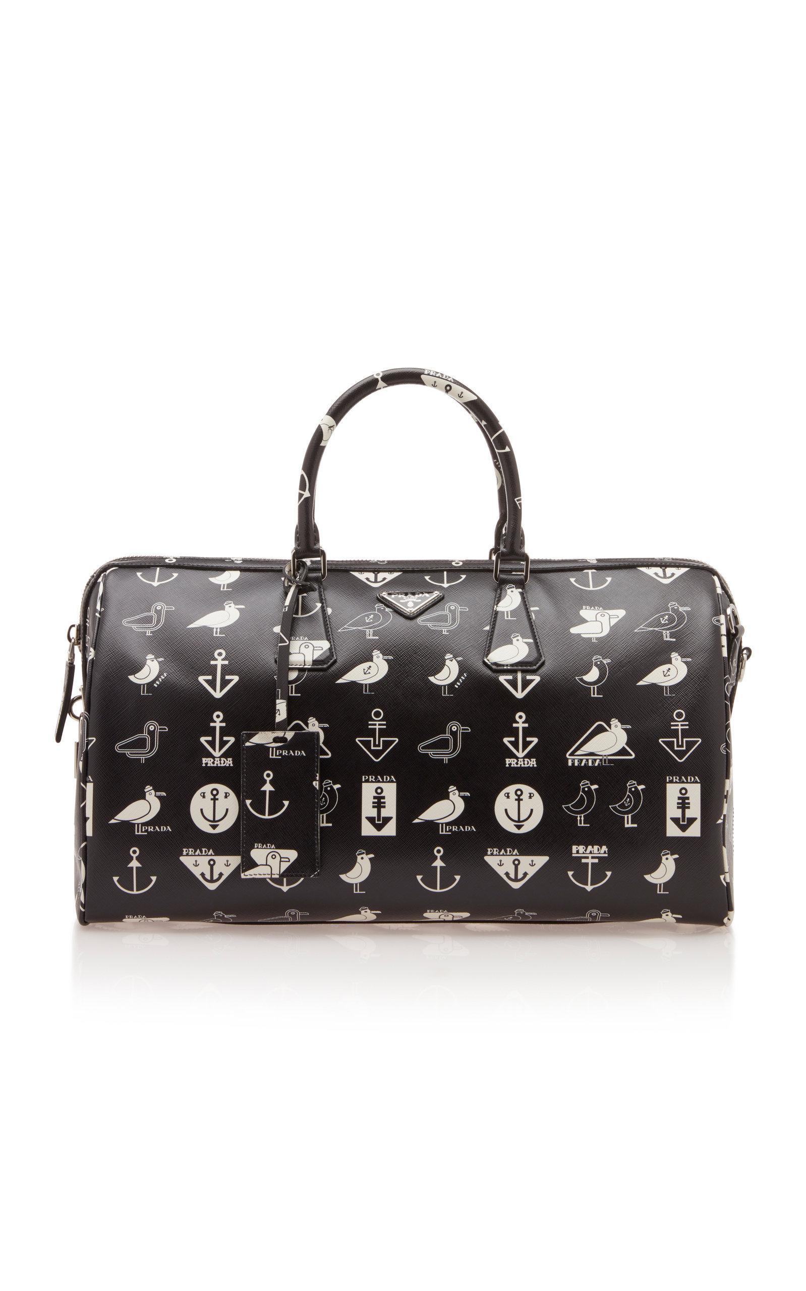 8830aa2f8a67 Prada - Black Nautical-print Leather Gym Bag for Men - Lyst. View fullscreen