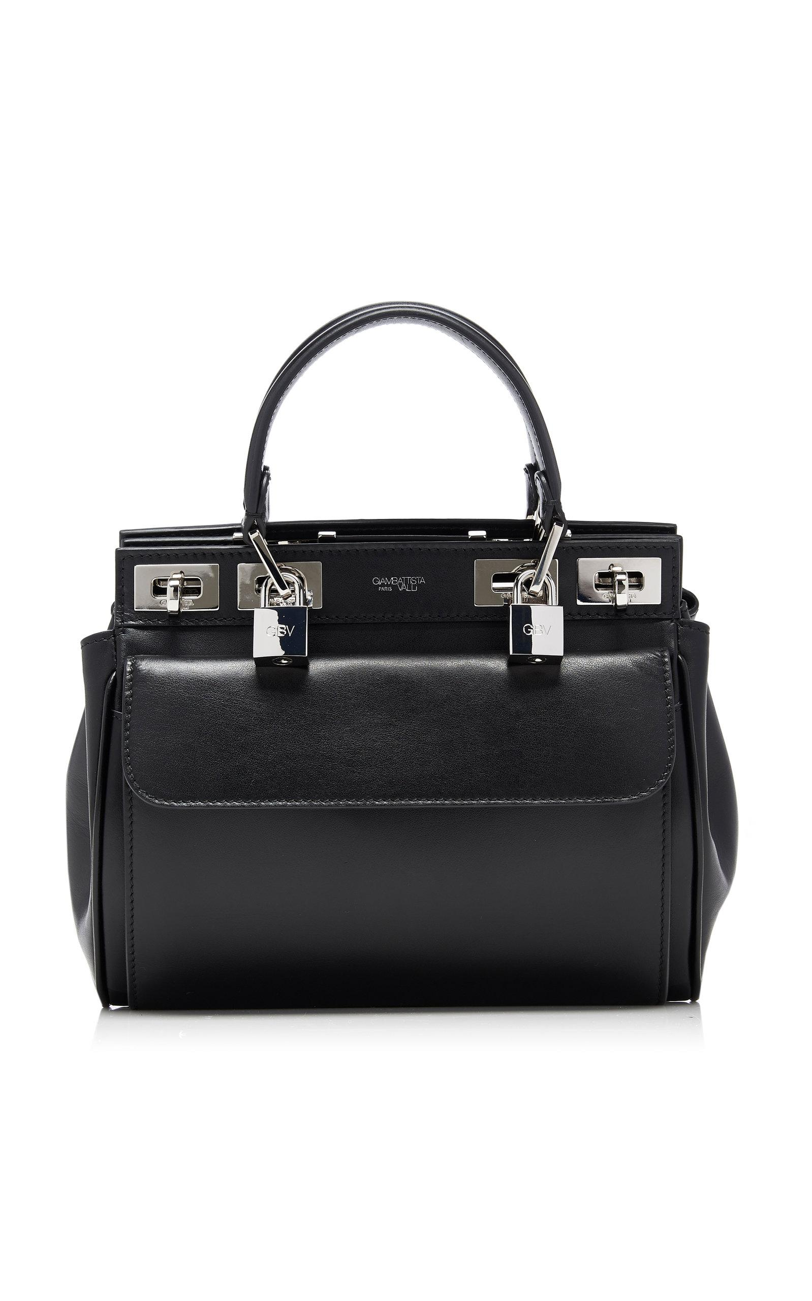 ce7c2749586 Giambattista Valli Small Lock-detailed Leather Tote in Black - Lyst