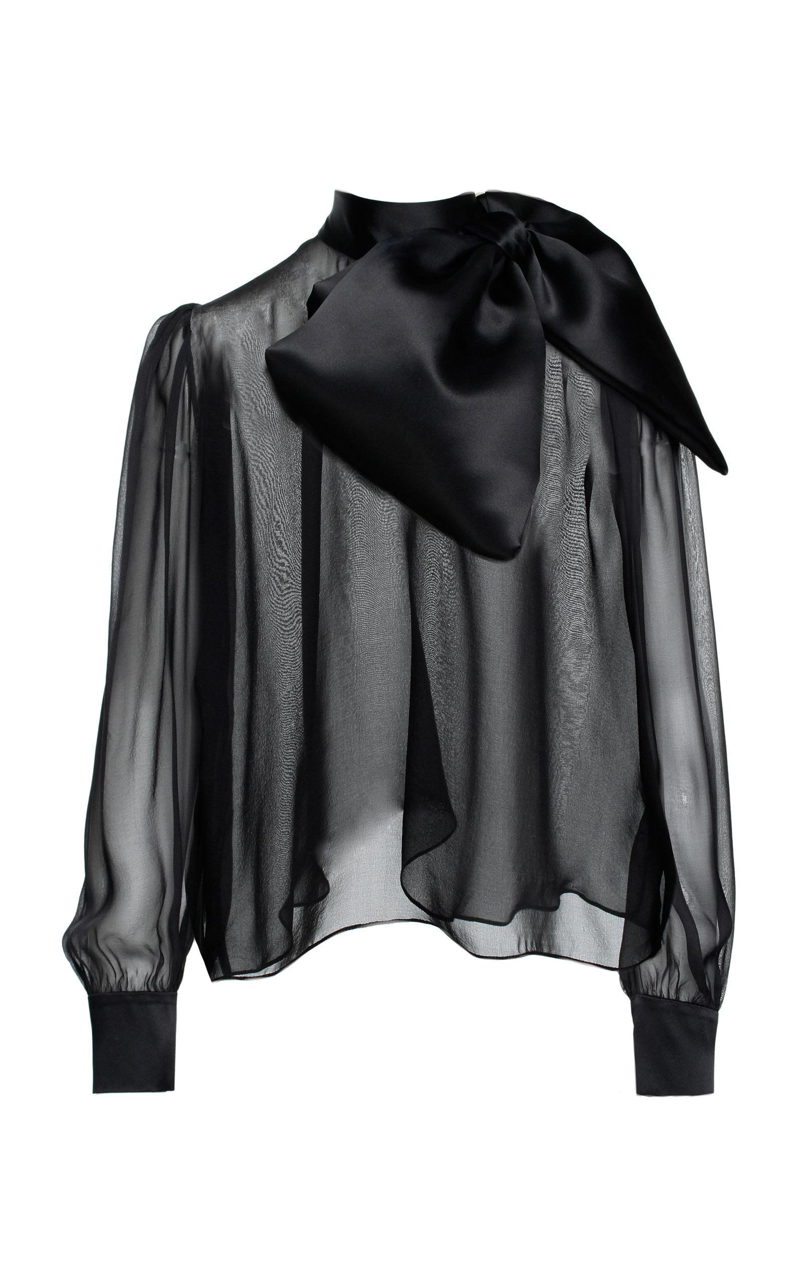 fedc45869c52a ANOUKI Silk Draped Bow Blouse in Black - Lyst