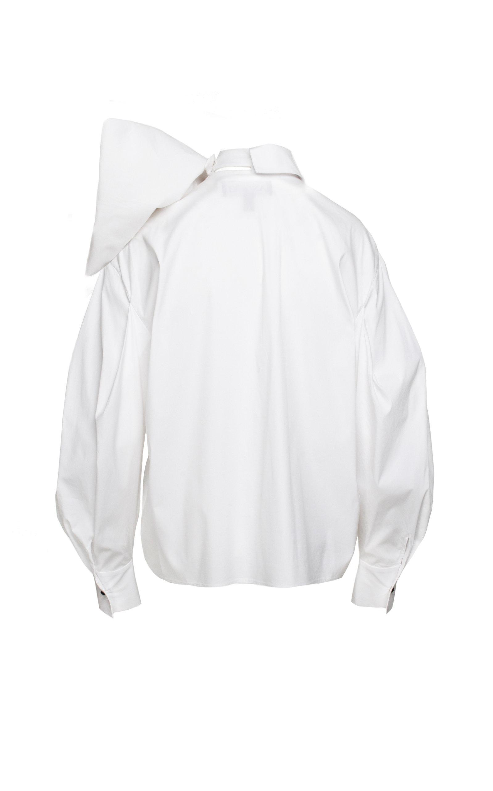 86911c9658561 Anouki - White Poplin Bow Accented Top - Lyst. View fullscreen