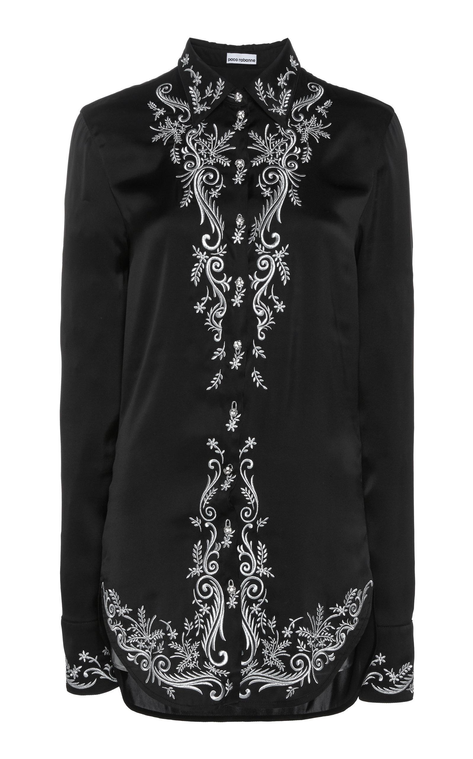 b894c0e7 Paco Rabanne - Black Embroidered Satin Shirt - Lyst. View fullscreen