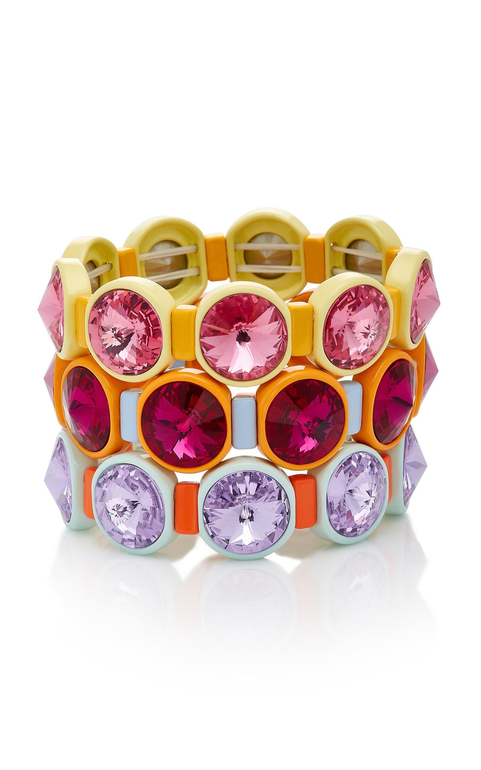 Roxanne Assoulin Technicolor Set Of Three Enamel And Swarovski Crystal Bracelets - Pink eo47zZ