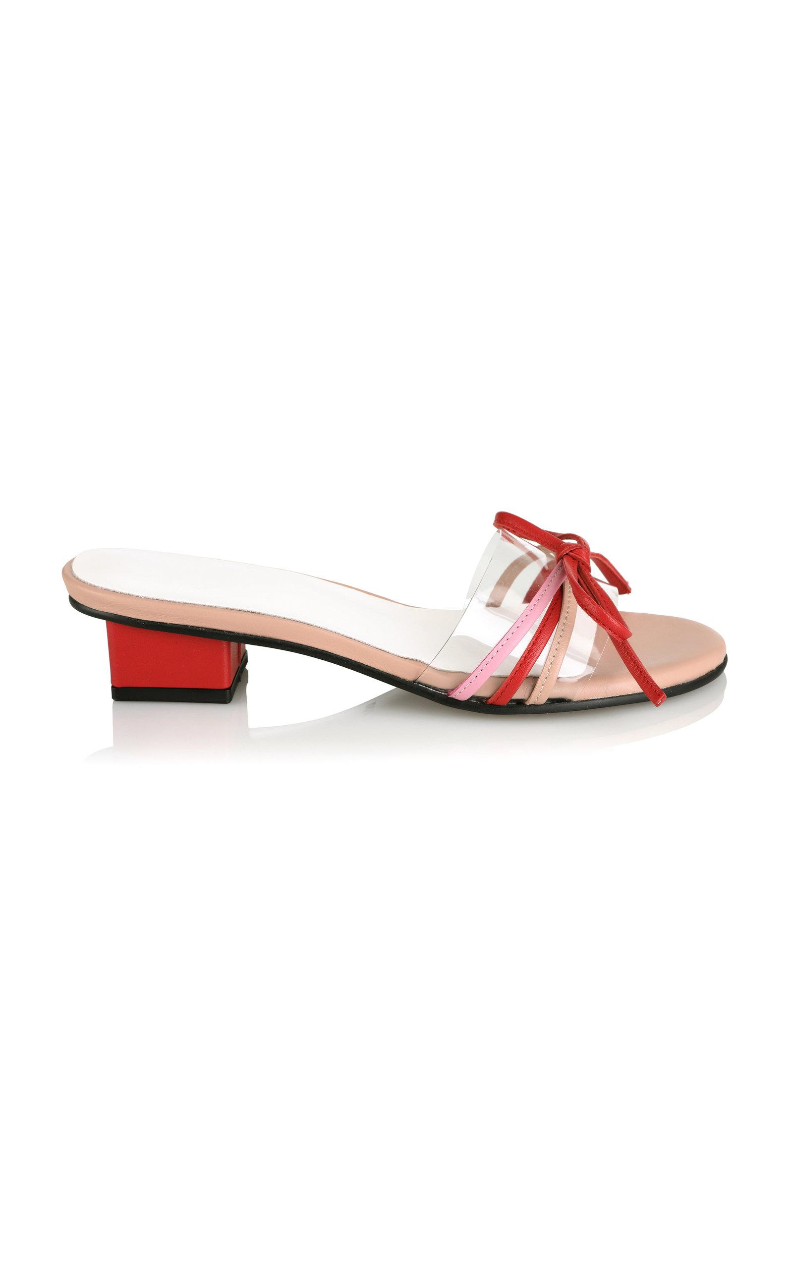 cb61f3759 Lyst - Yuul Yie Bow-embellished Pvc-trimmed Leather Sandals in Red