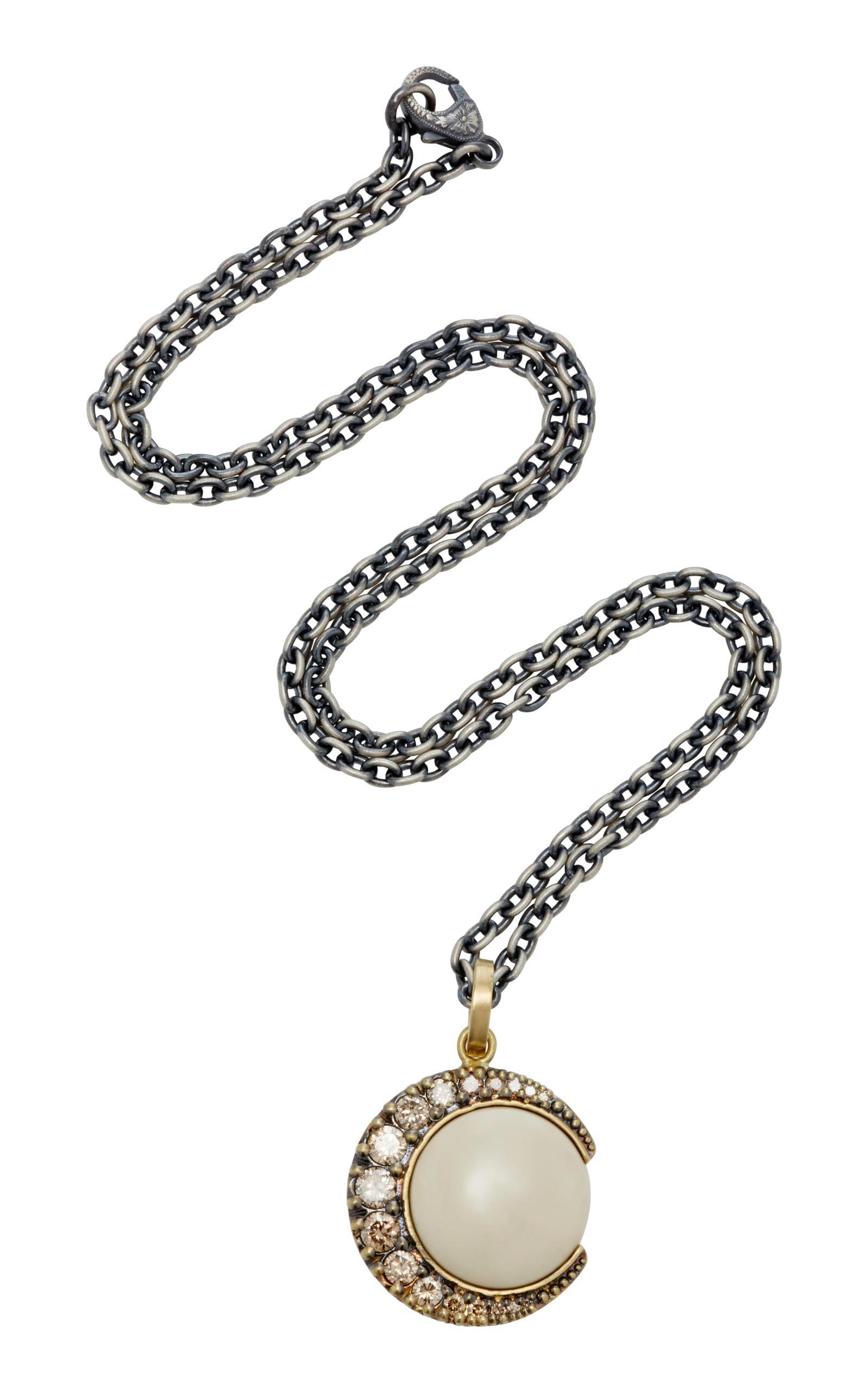 Sylva & Cie. White Gold Rough Diamond Moon Pendant With Chain 8KytqpG