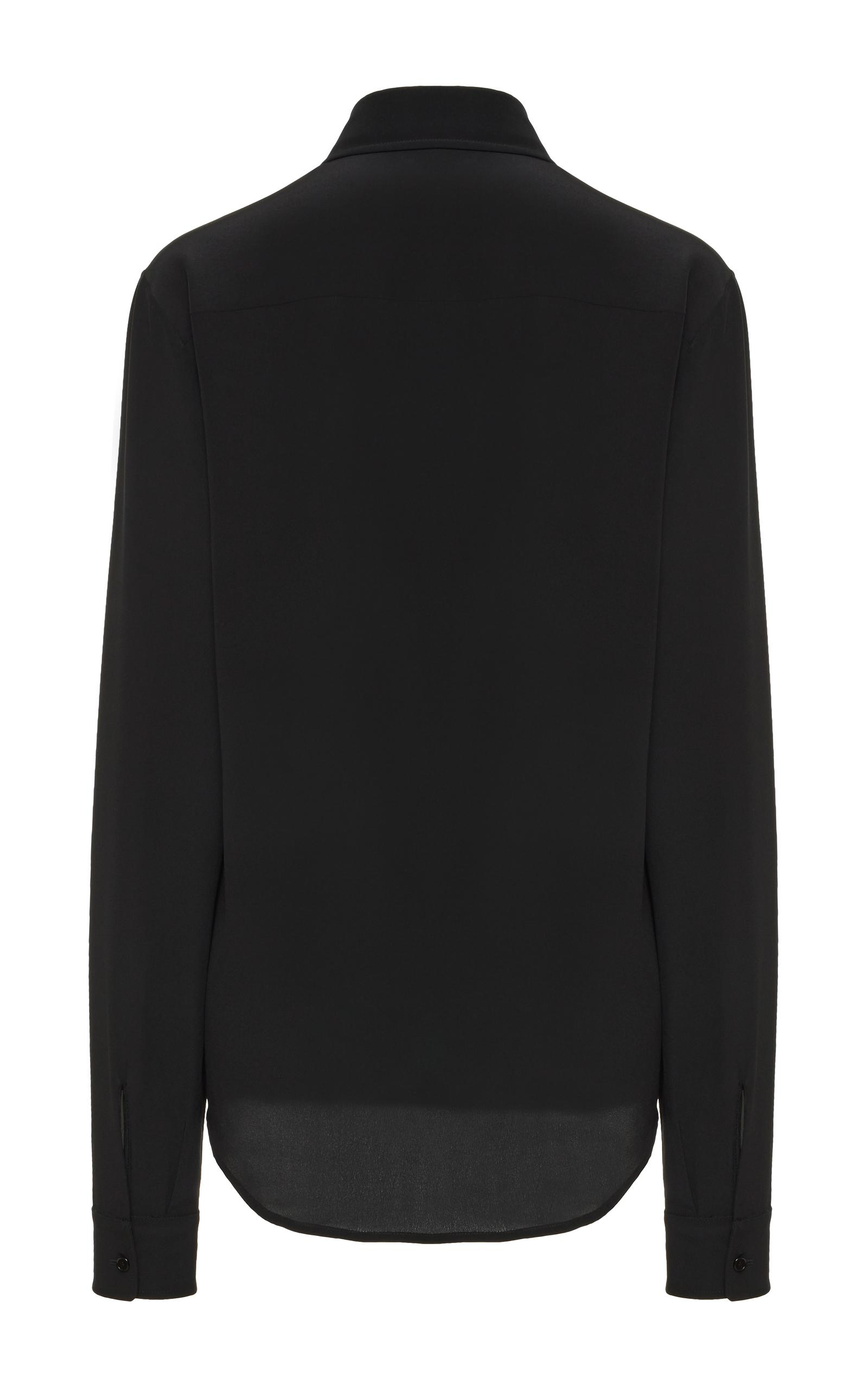 Rochas Basic Silk Button Down Shirt In Black Lyst