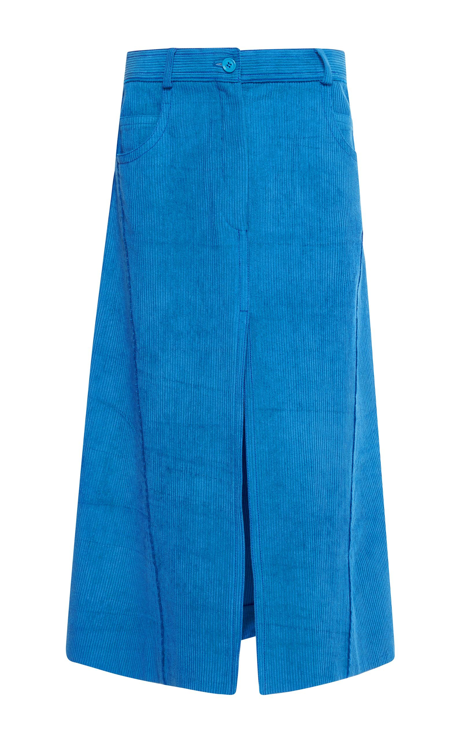 Cut off blue corduroy skirt