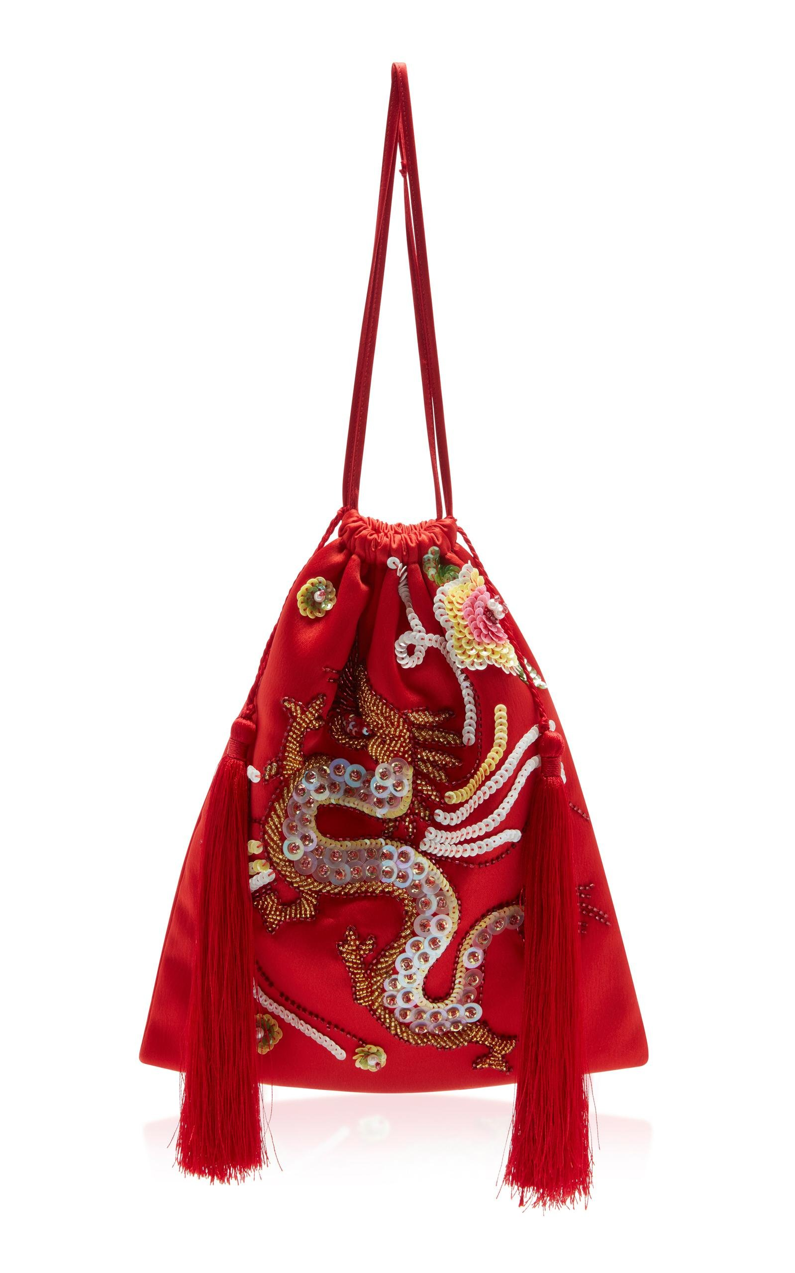 Attico Embroidered Drawstring Pouch In Red Lyst