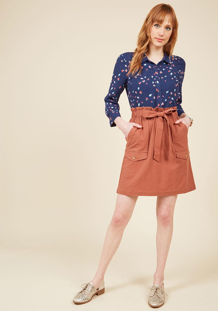 Modcloth Sunny Spirit Button-up Top In Blue Beetles in ...