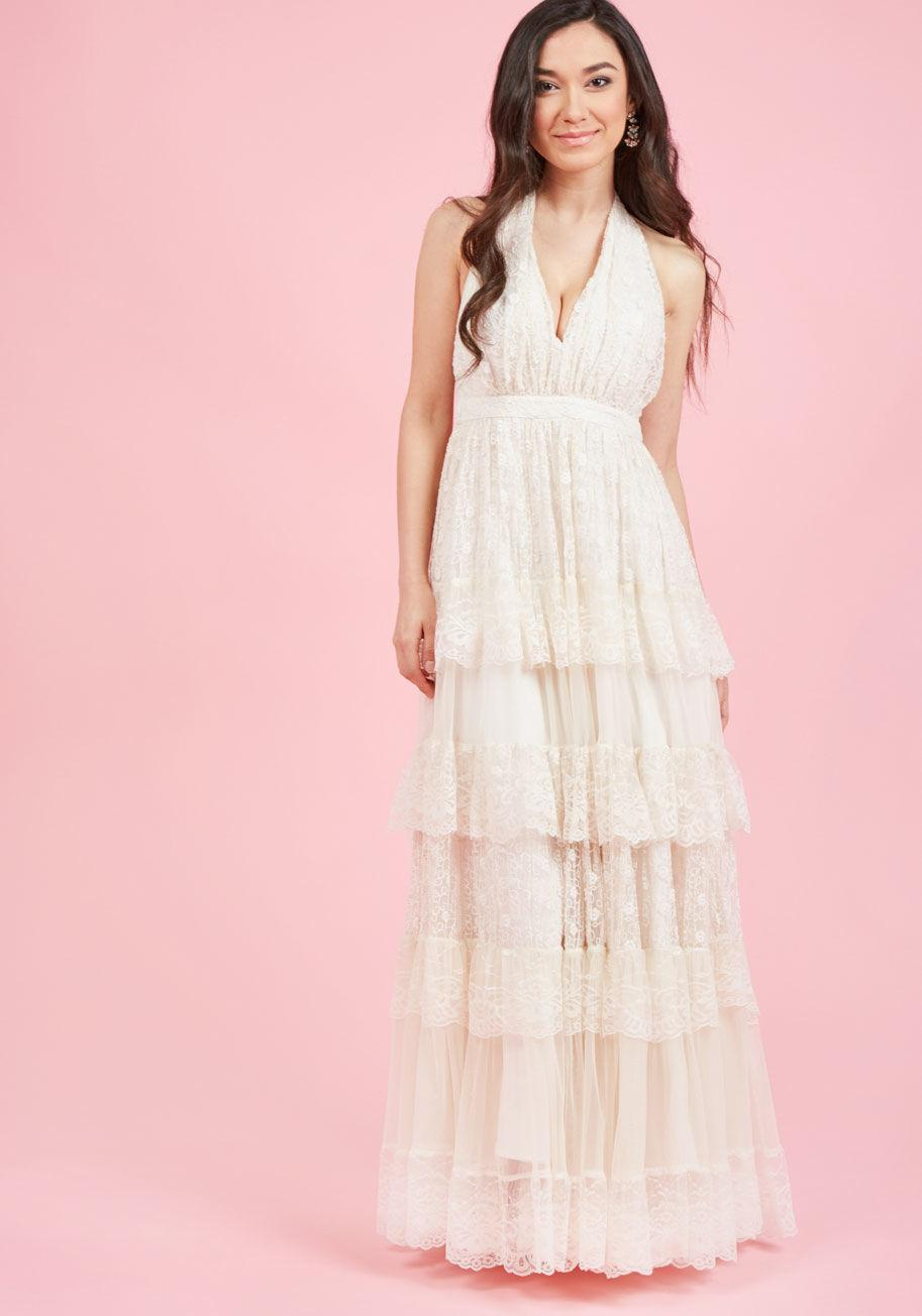 Lyst - Modcloth Layered Love Maxi Dress In Ivory in White