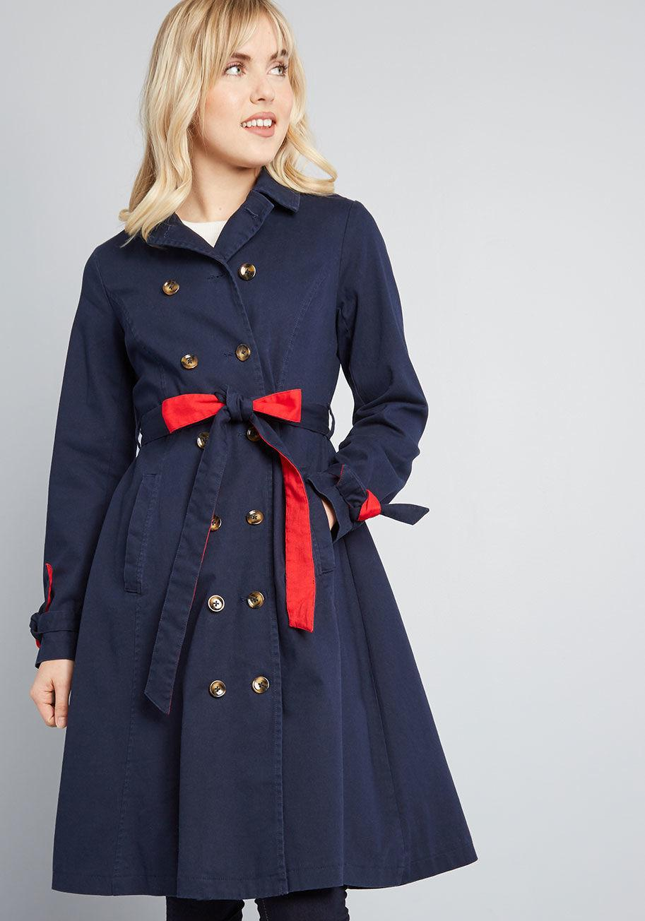 9330066a54d2 Lyst - ModCloth Classic Imagination Trench in Blue