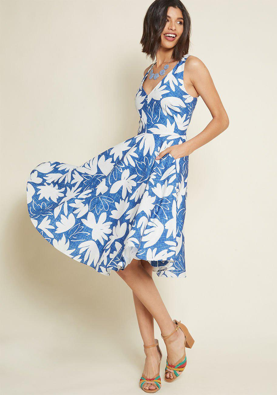 19158fd904 Lyst - ModCloth Forthrightly Fab Fit And Flare Dress in Blue
