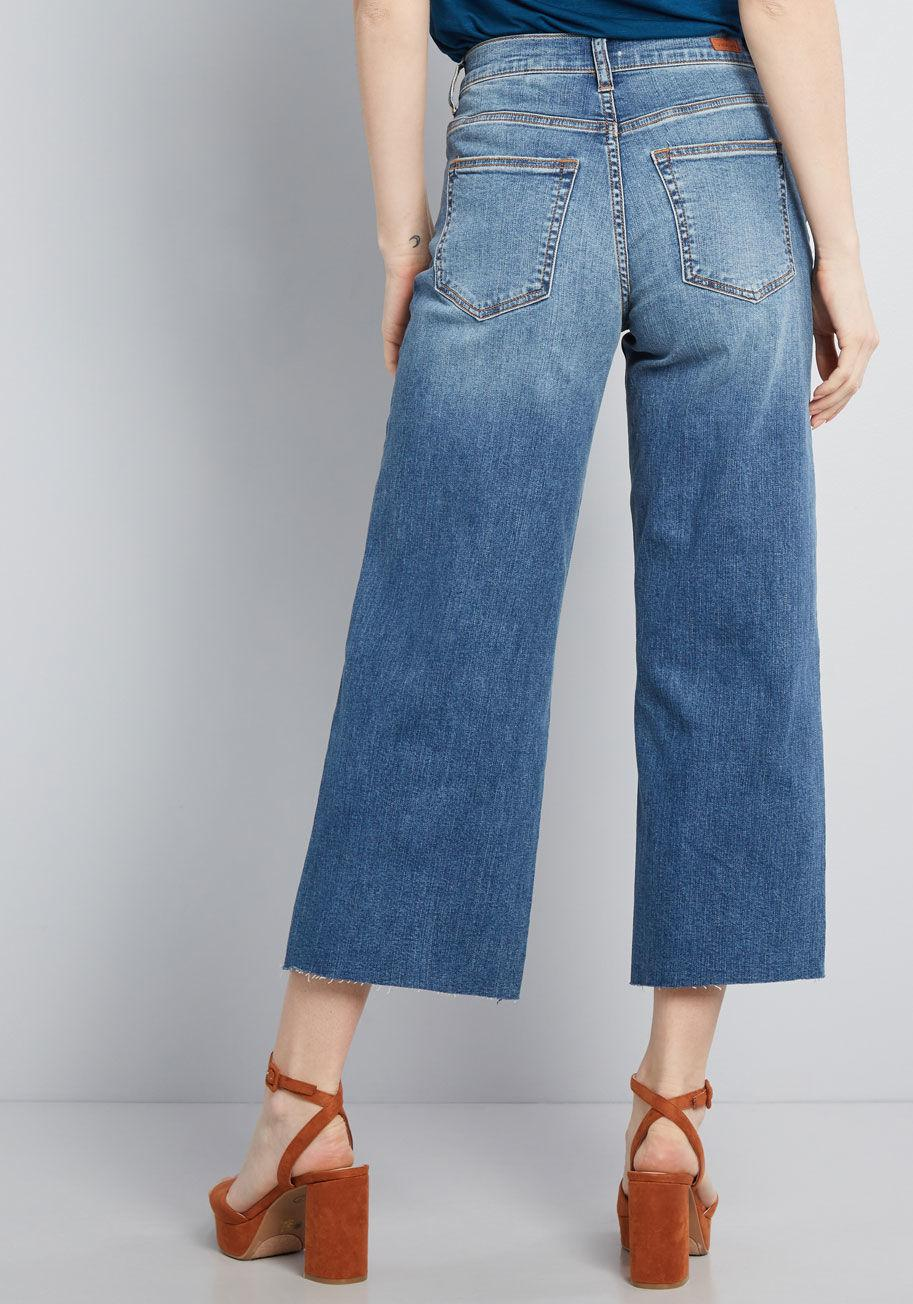 451487f5e42 ModCloth - Blue Opt For Cropped Wide-leg Jeans - Lyst. View fullscreen