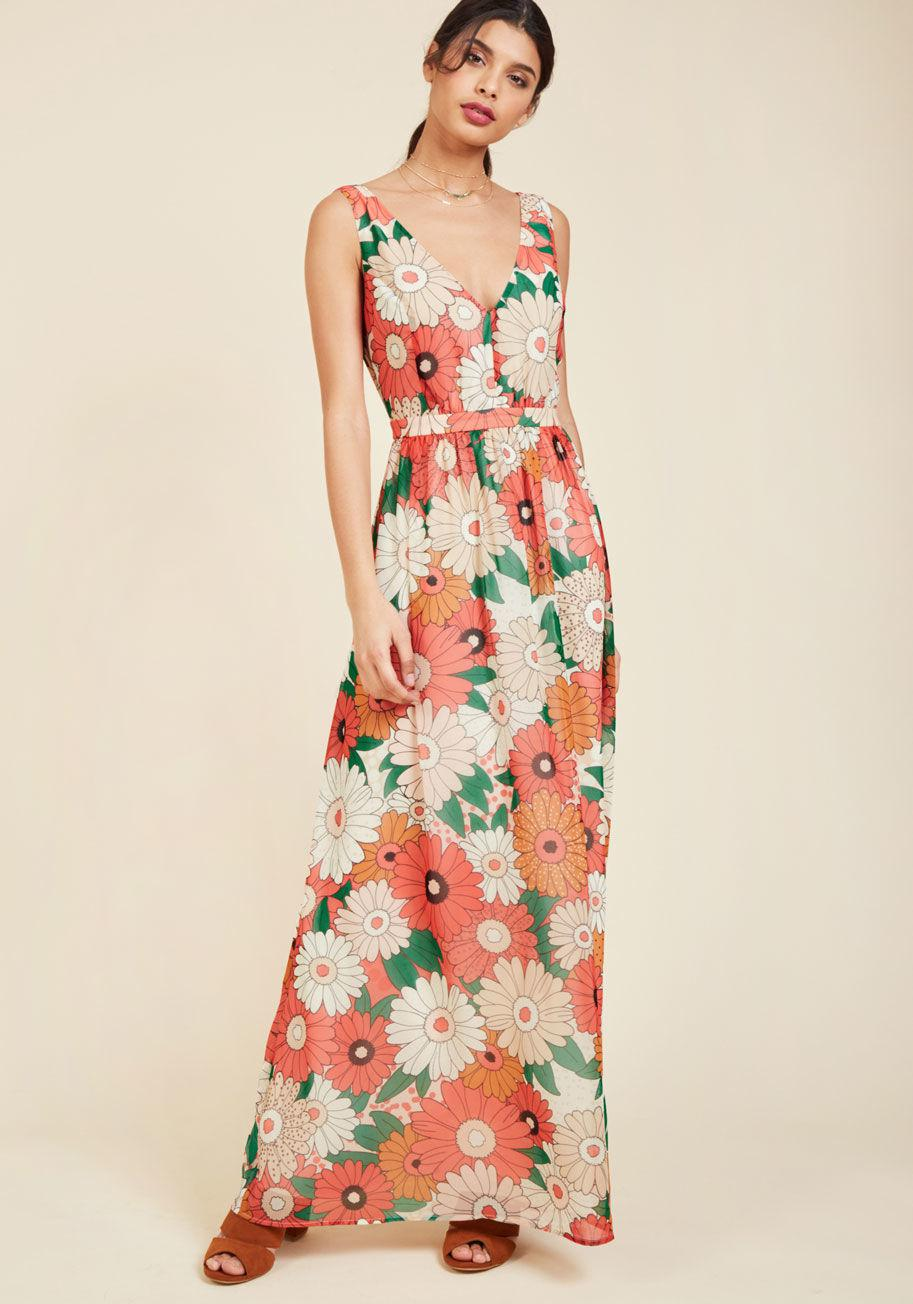 6e35c8b2c5aa ModCloth Muster The Length Maxi Dress In Coral in Pink - Lyst